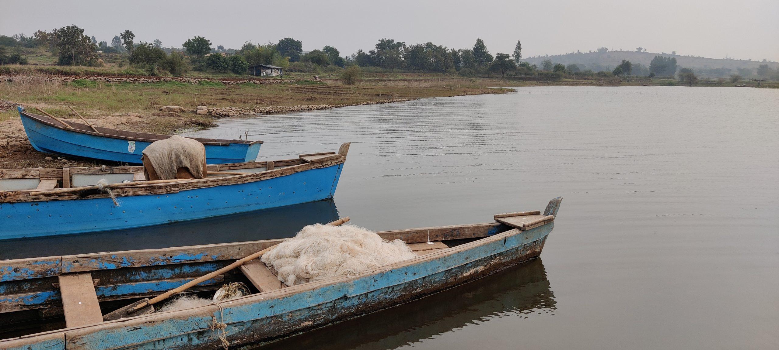 Fishing boats at a seashore