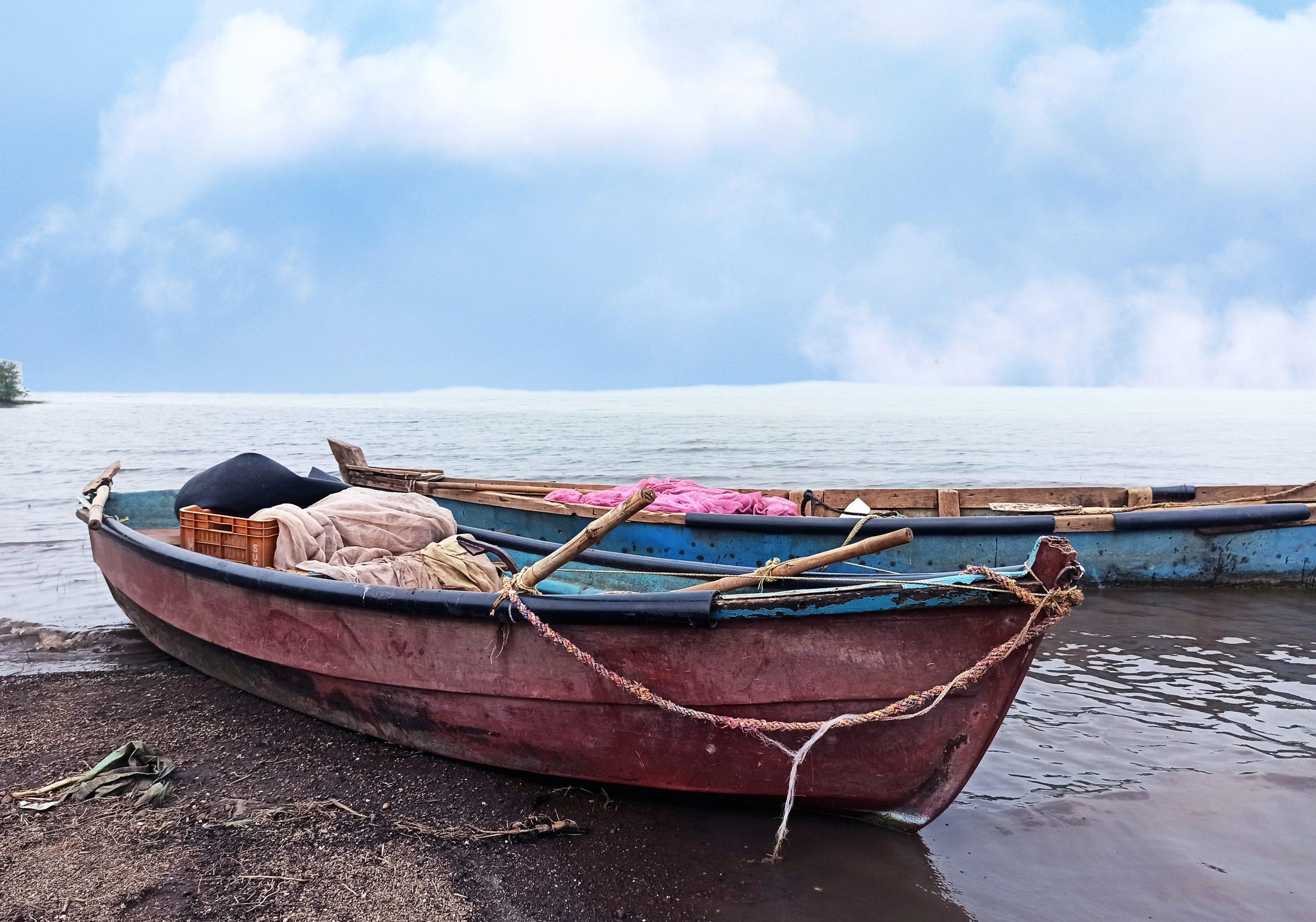 Fishing boats at a shore