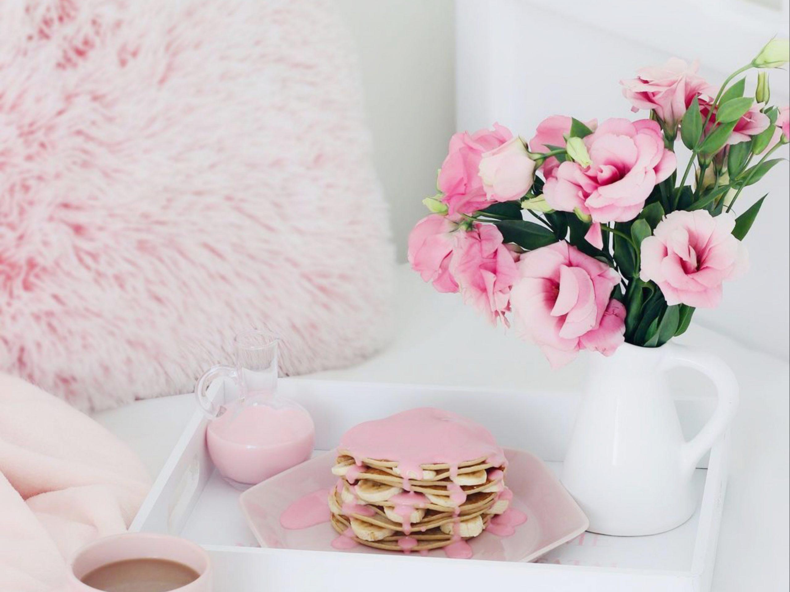 Cut flowers in a flask