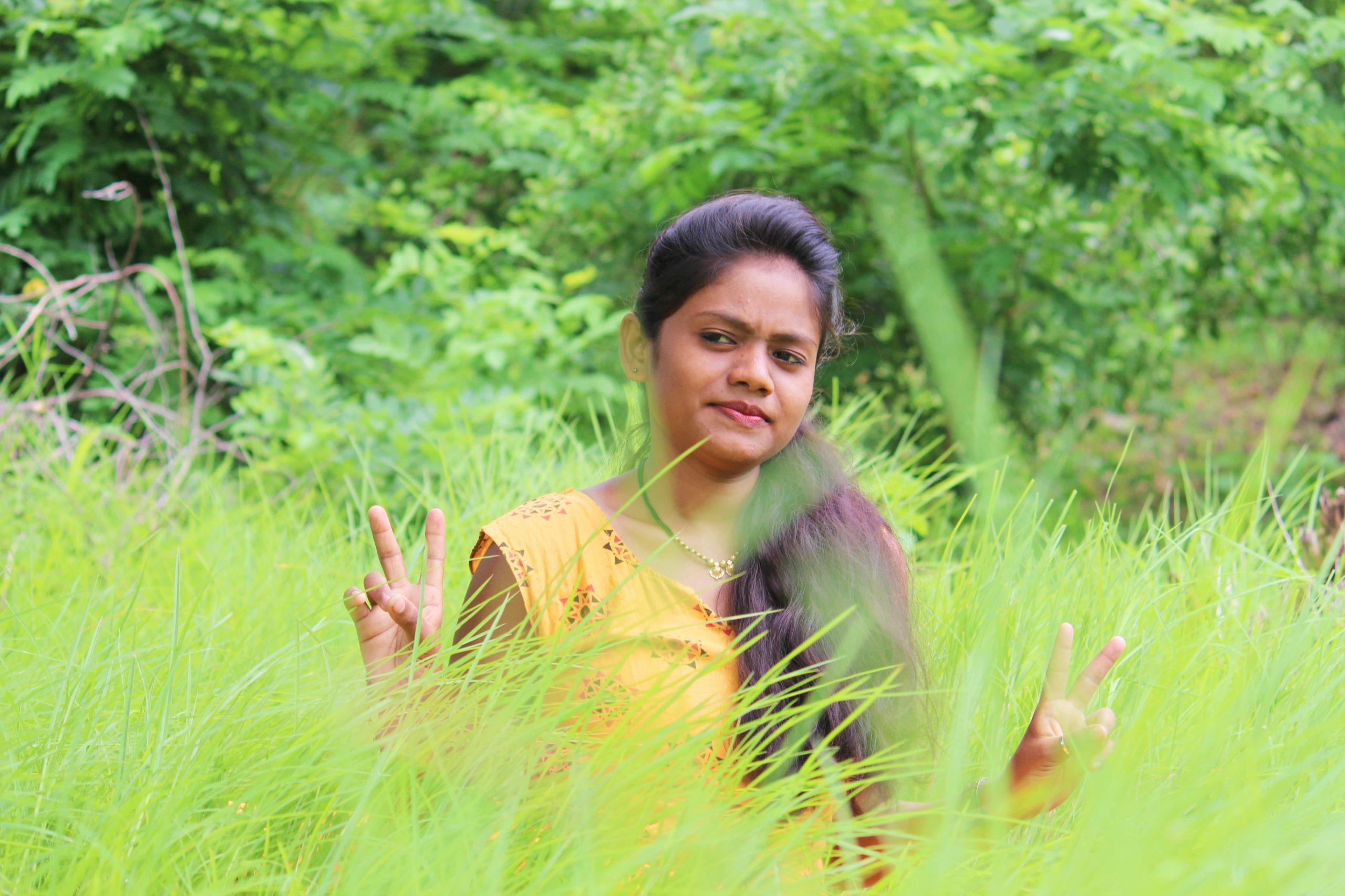 Girl posing in farm