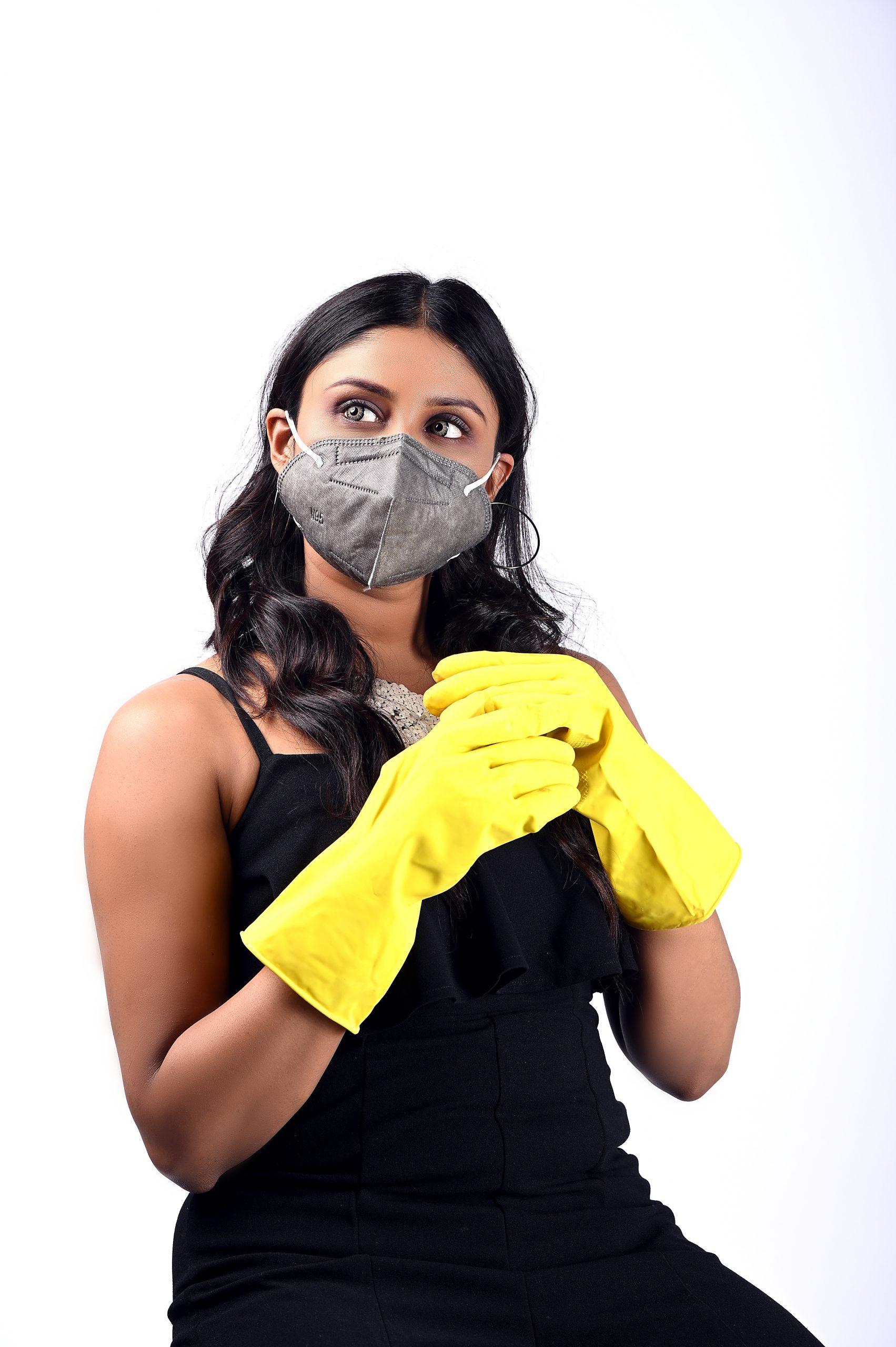 Girl posing in mask