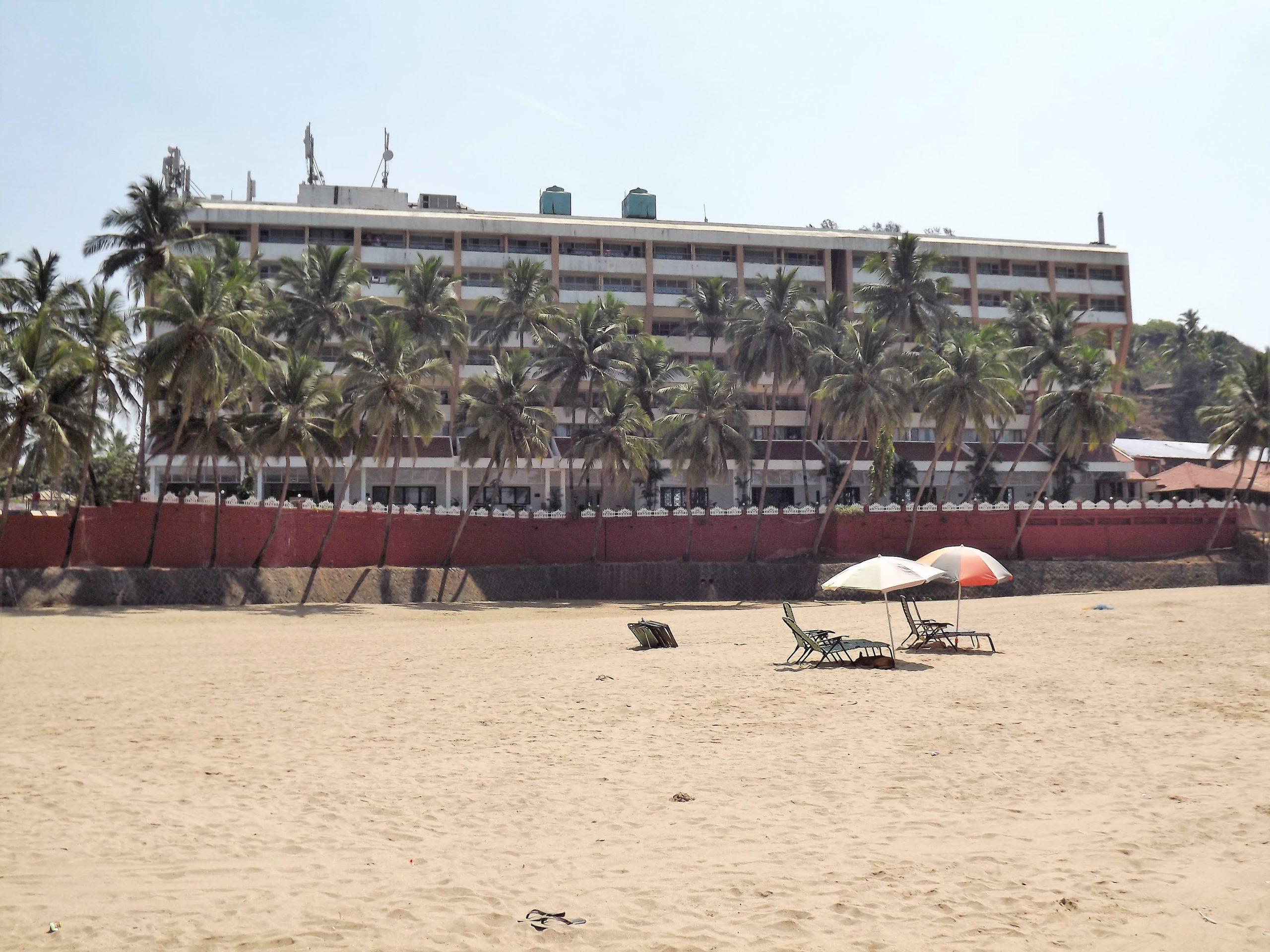 A beach and hotel in Goa
