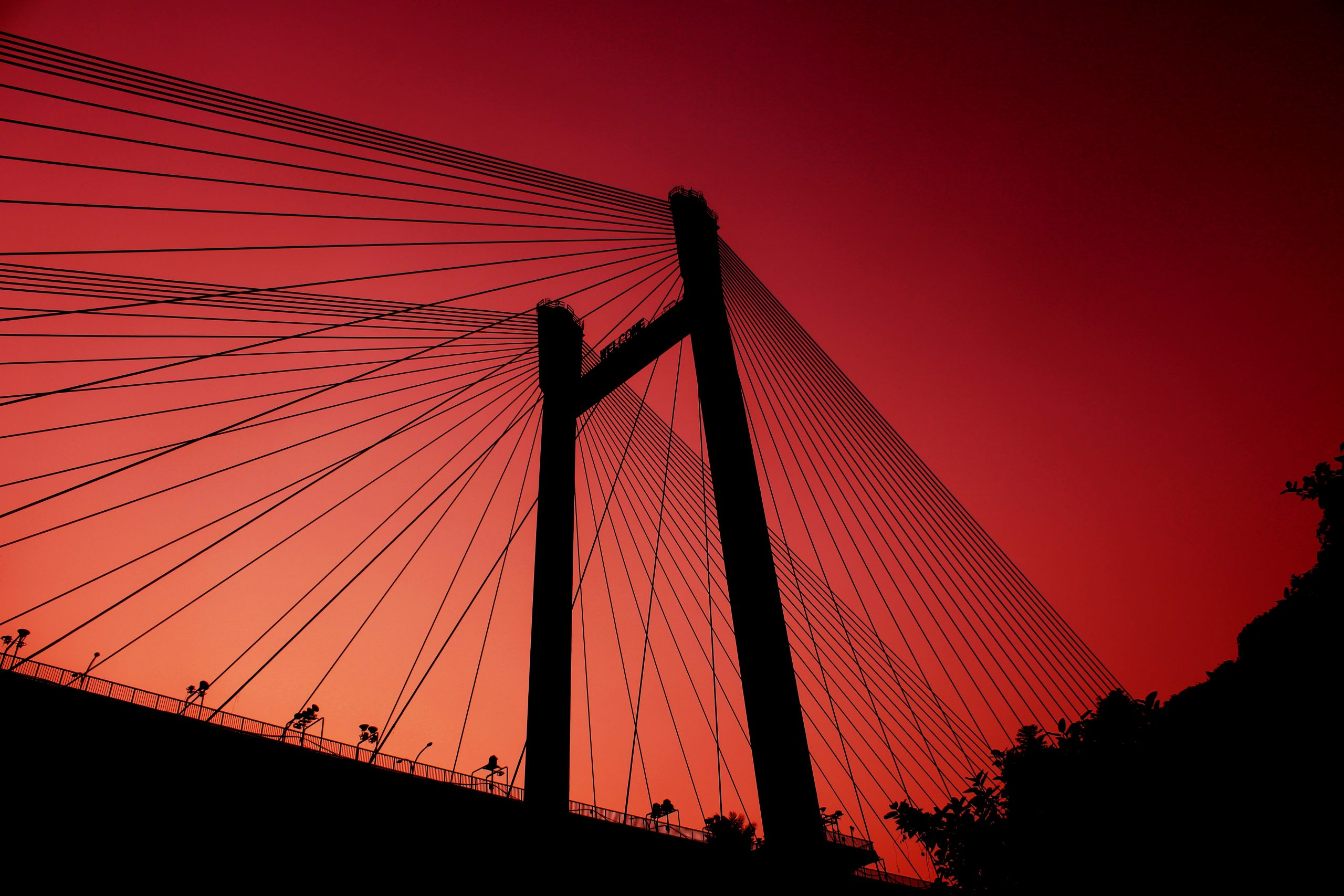 Howrah Bridge view in orange light