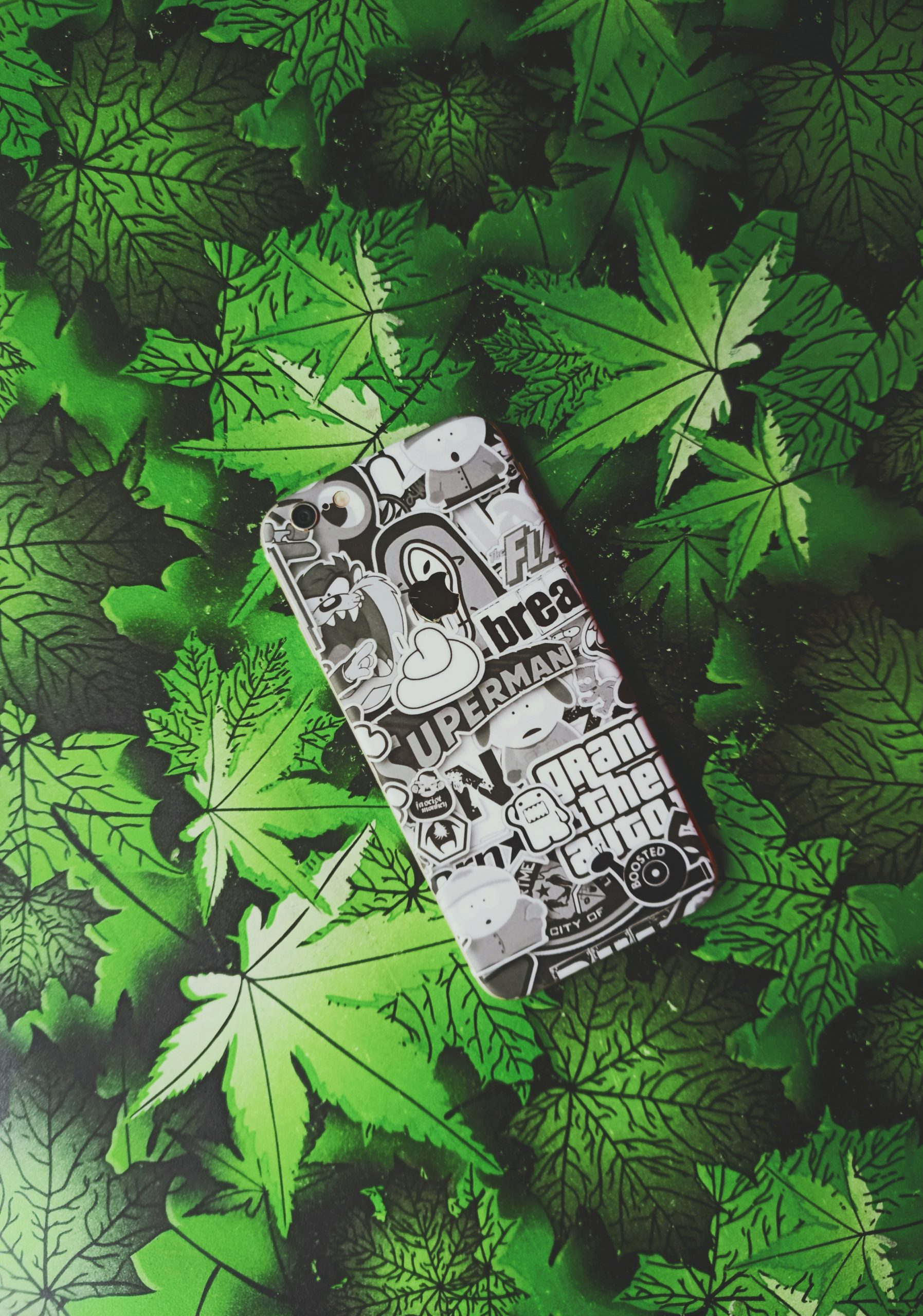 I phone with green background