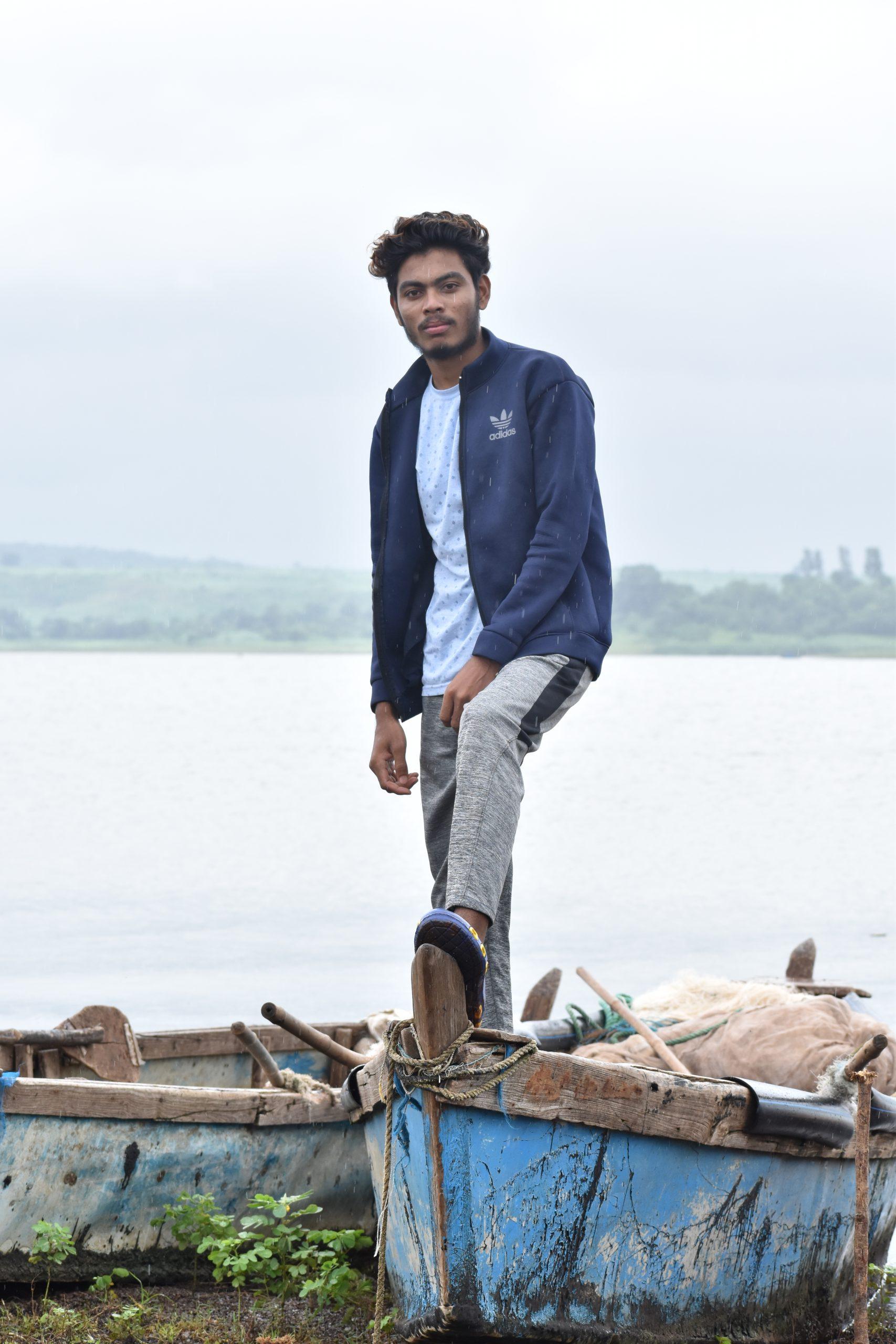 A boy on fishing boat