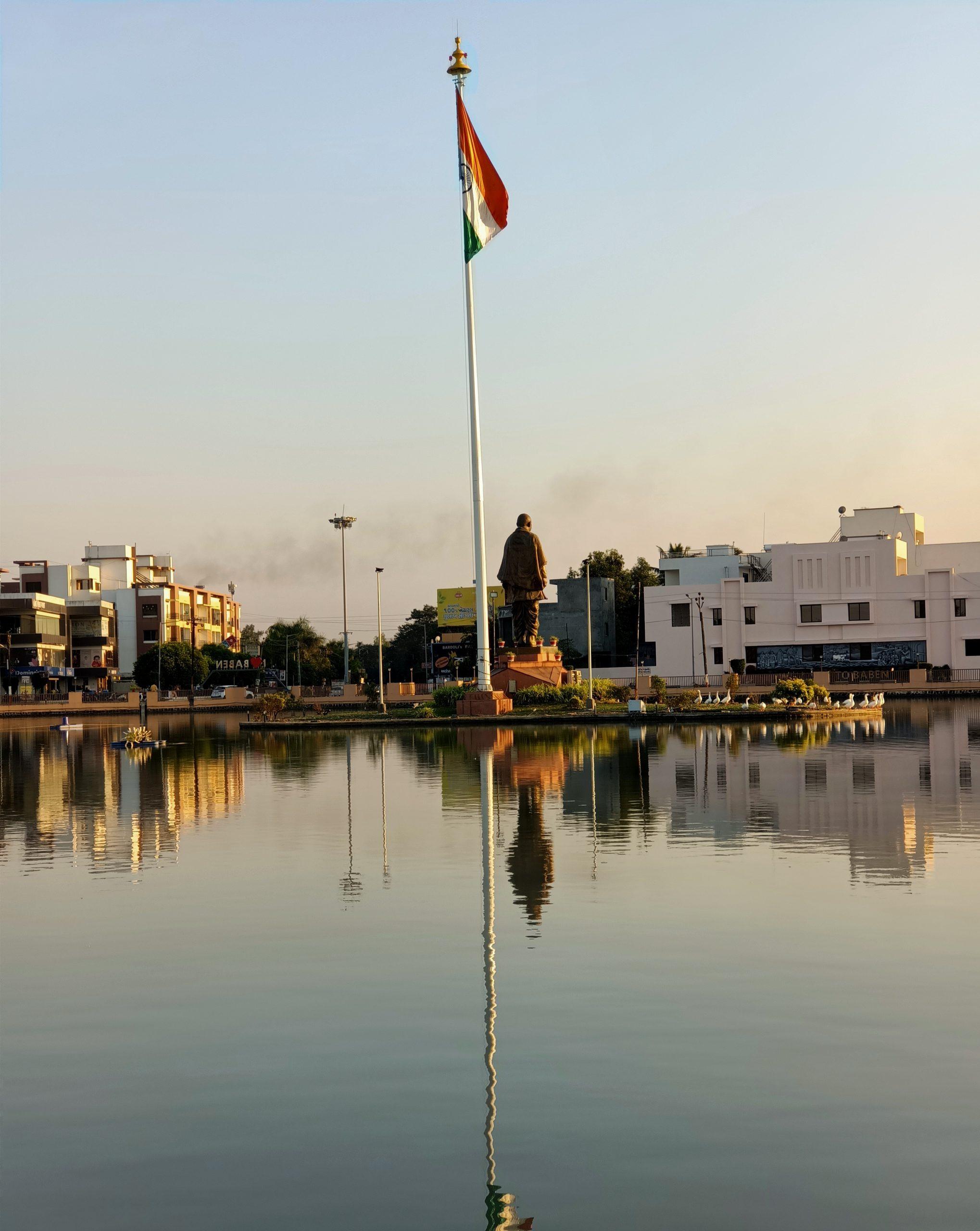 Flag beside the river