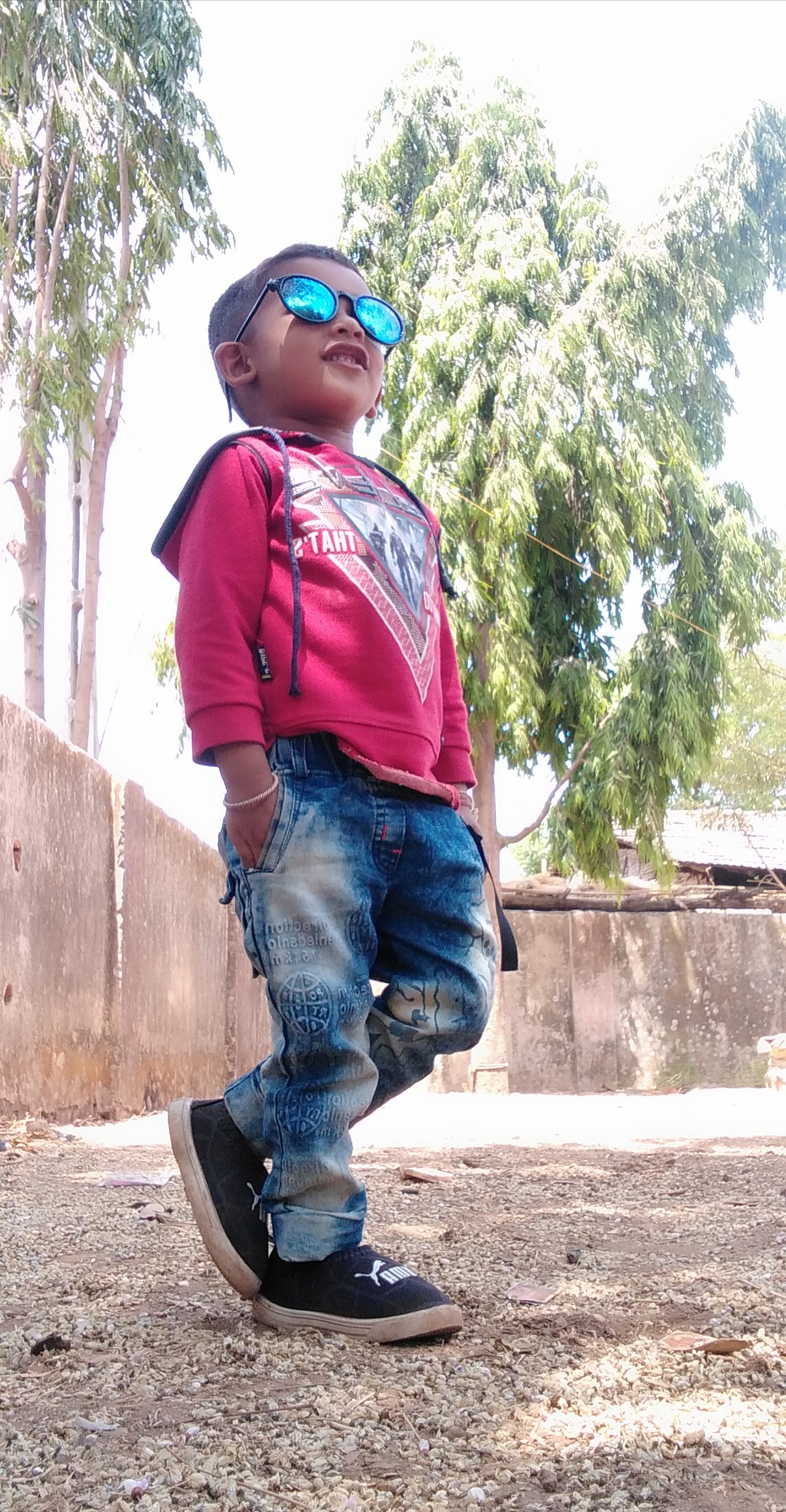 Kid posing on street
