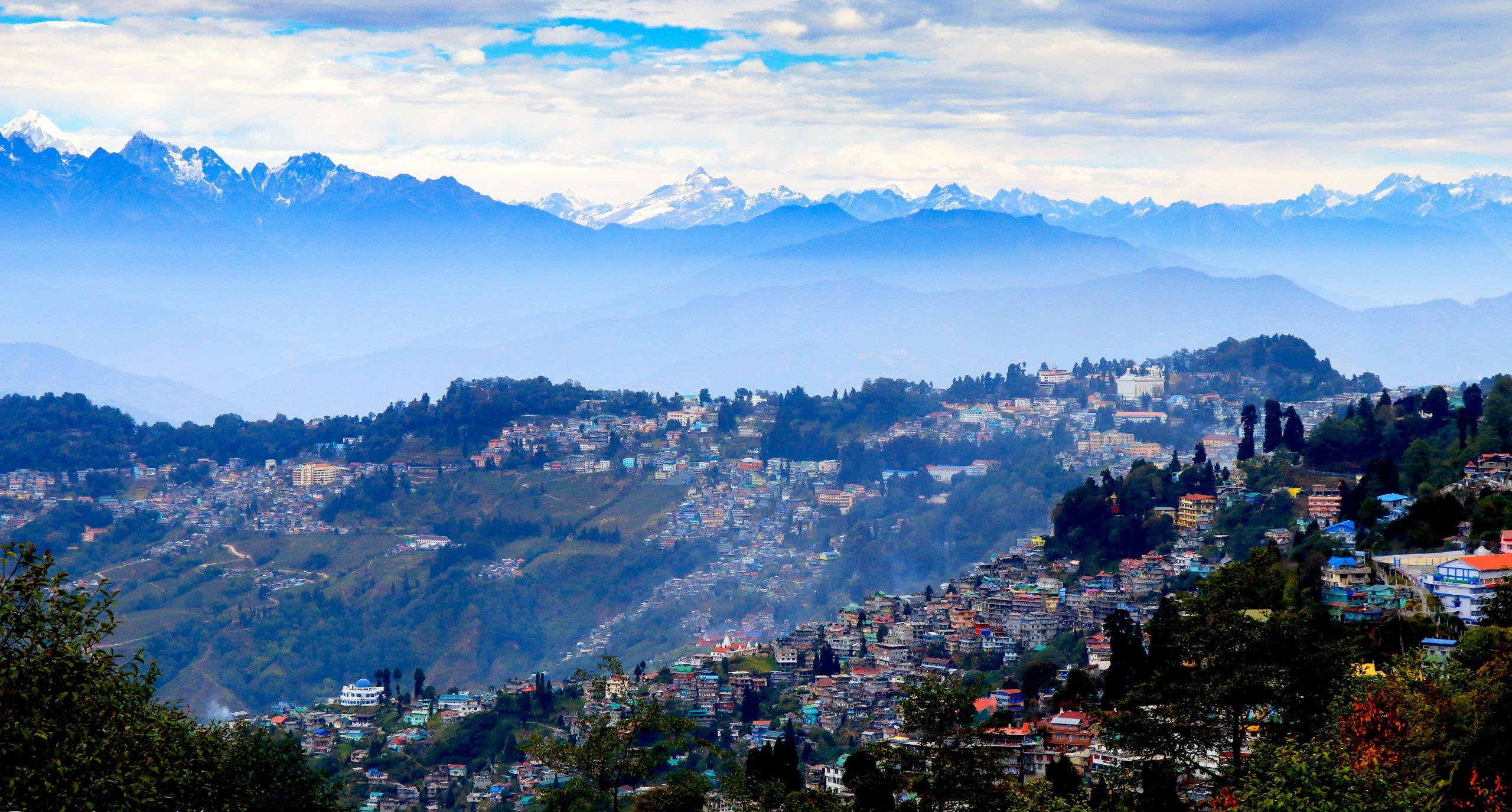 Batasia Loop mountains and city in Darjeeling