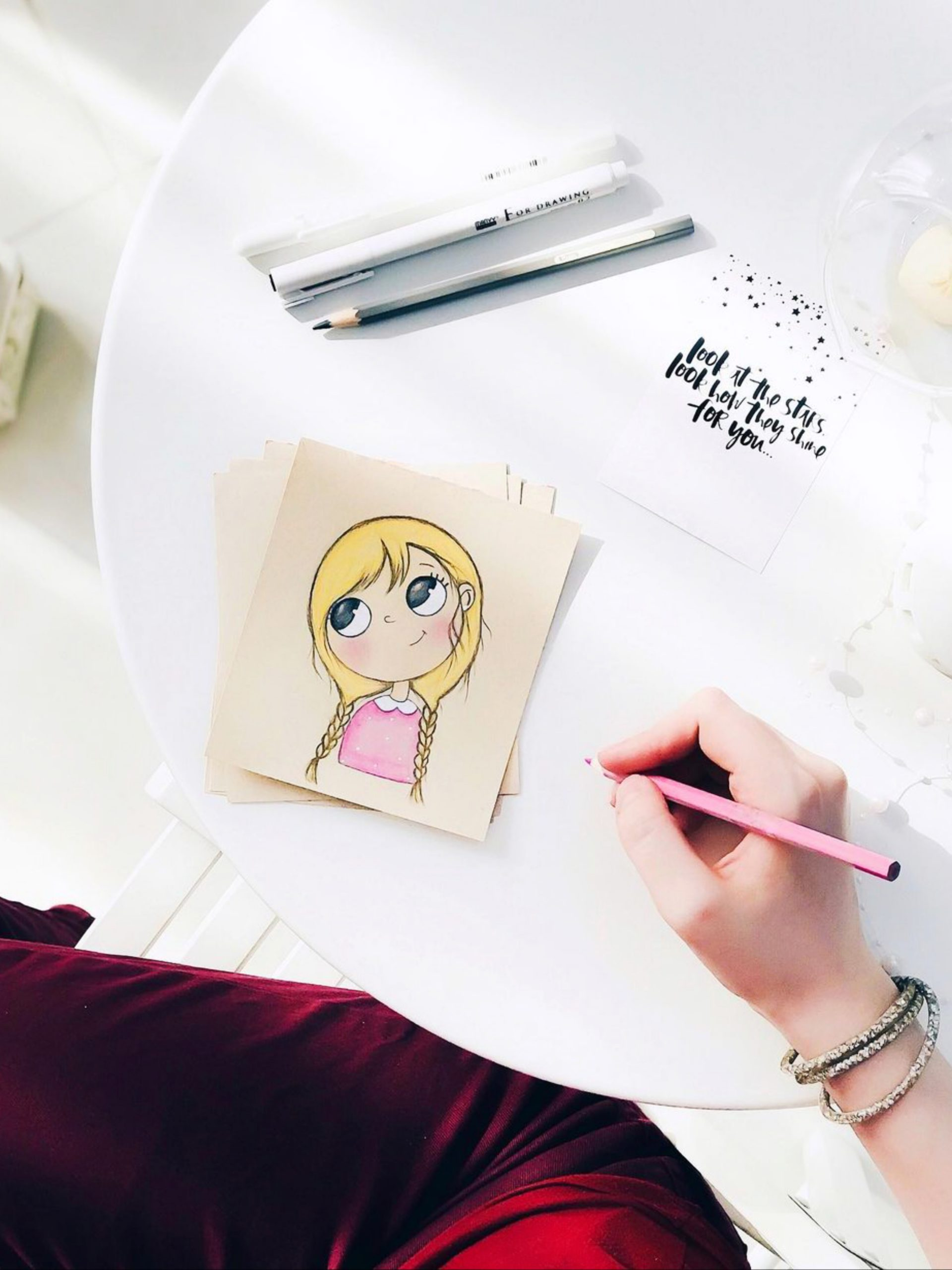 Making a girl's drawing