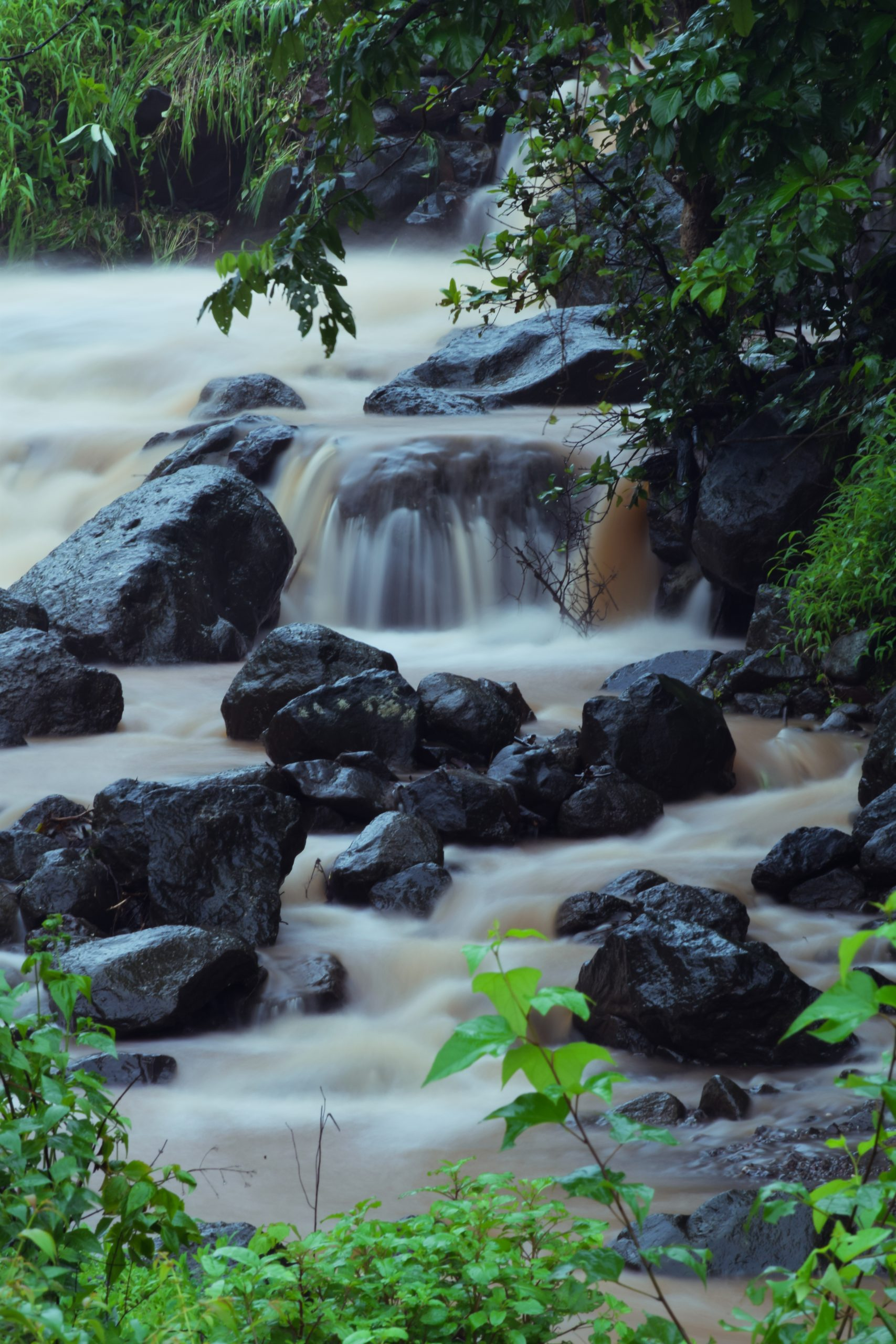 water flowing through the rocks