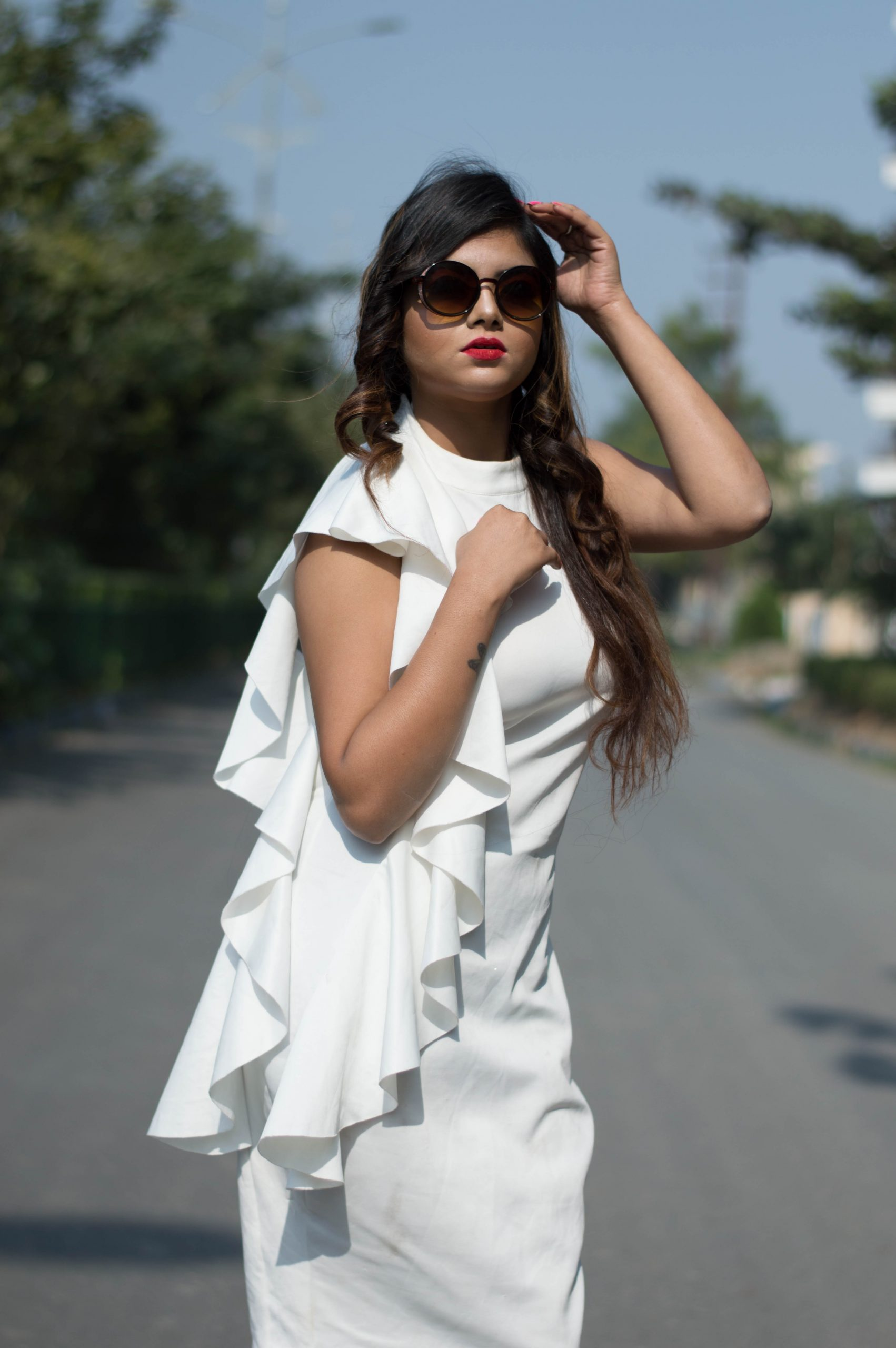 Model posing on road