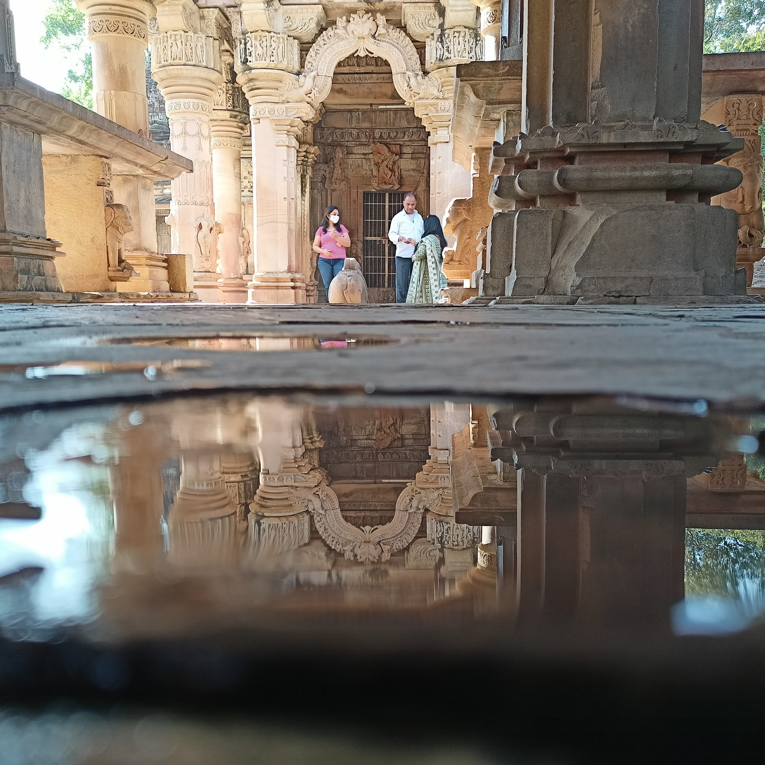 People in a historic temple