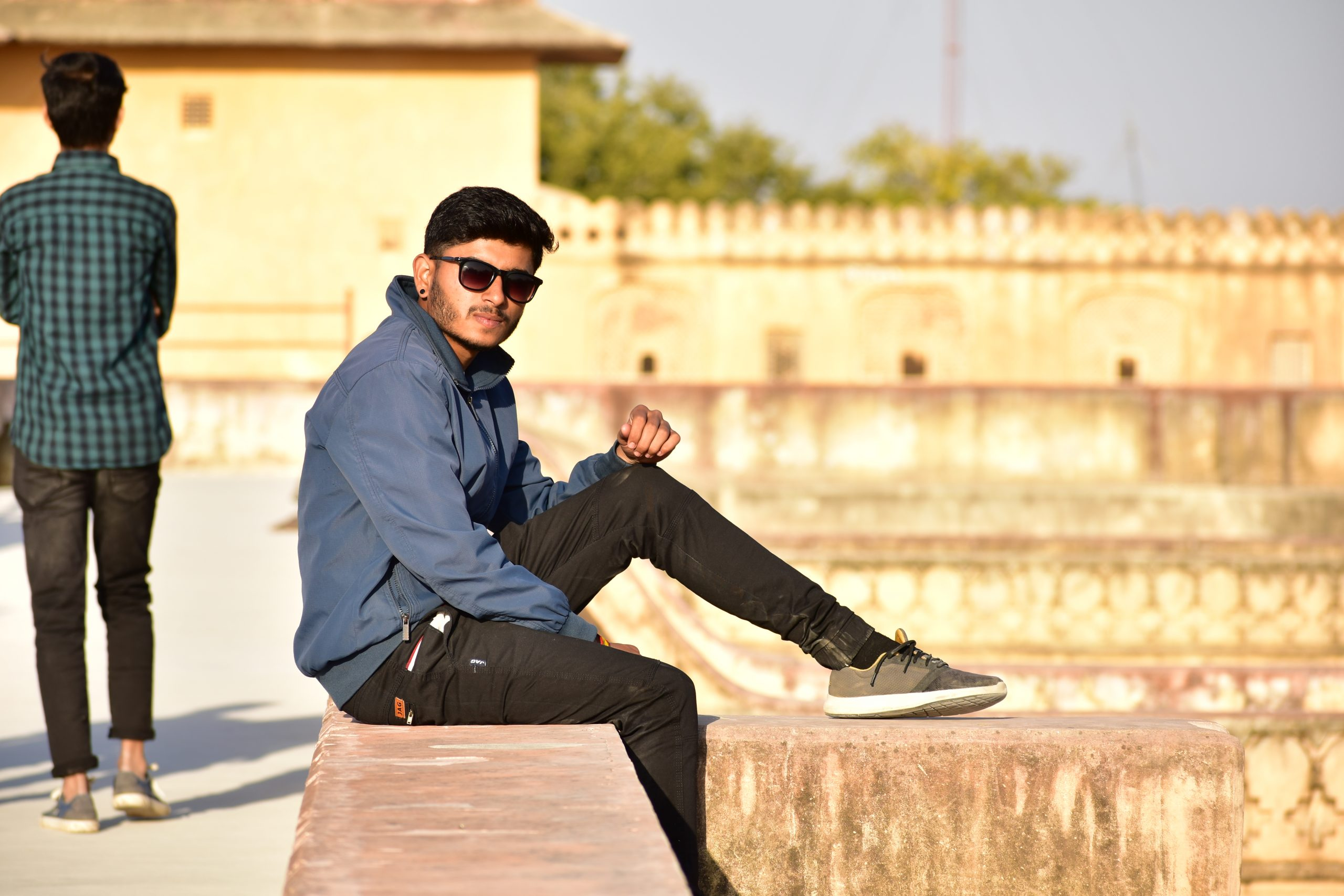Guy sitting on a Nahargarh Fort
