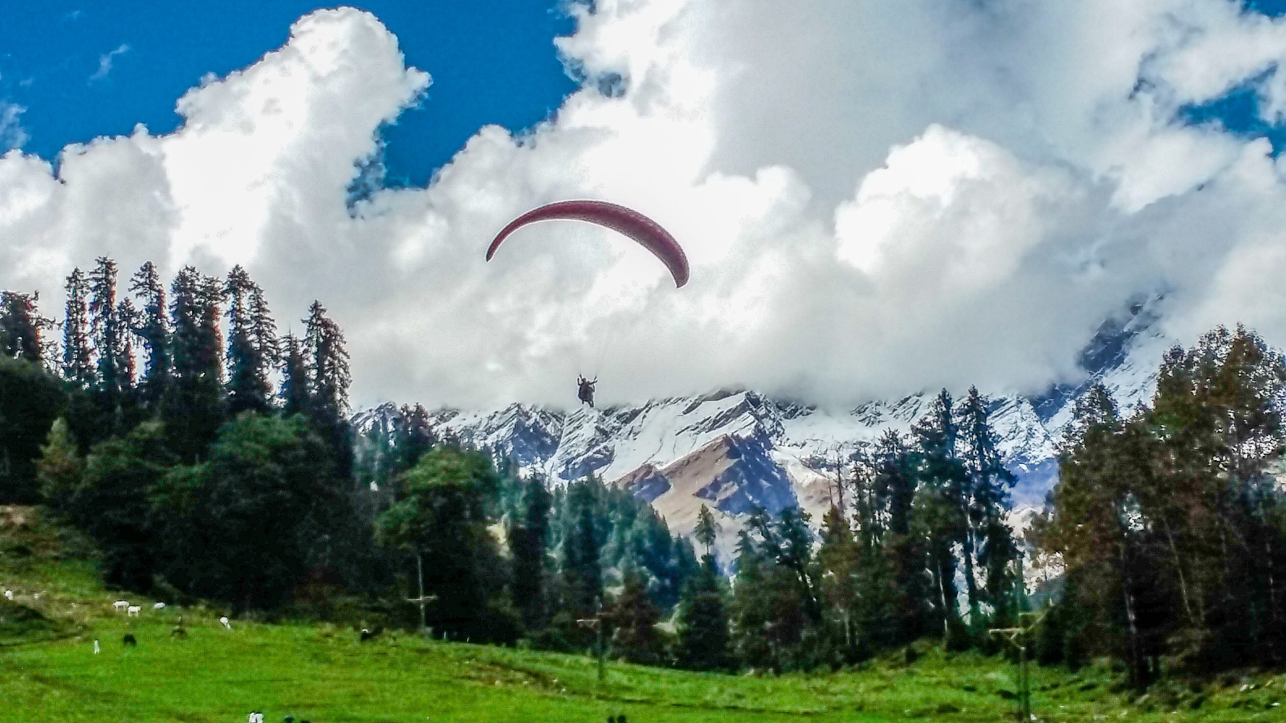Paragliding in hilly area