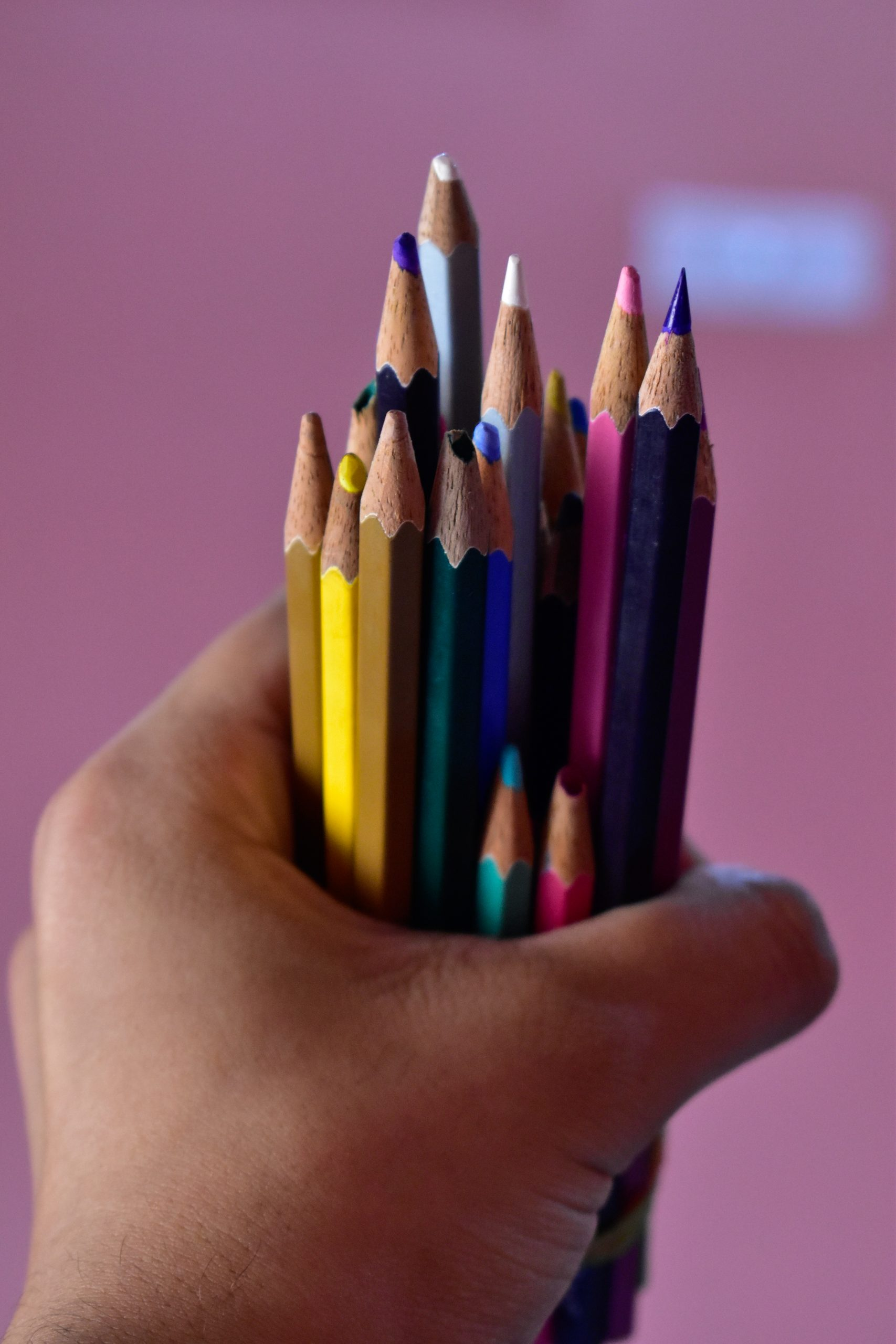 Pencil colors in hand