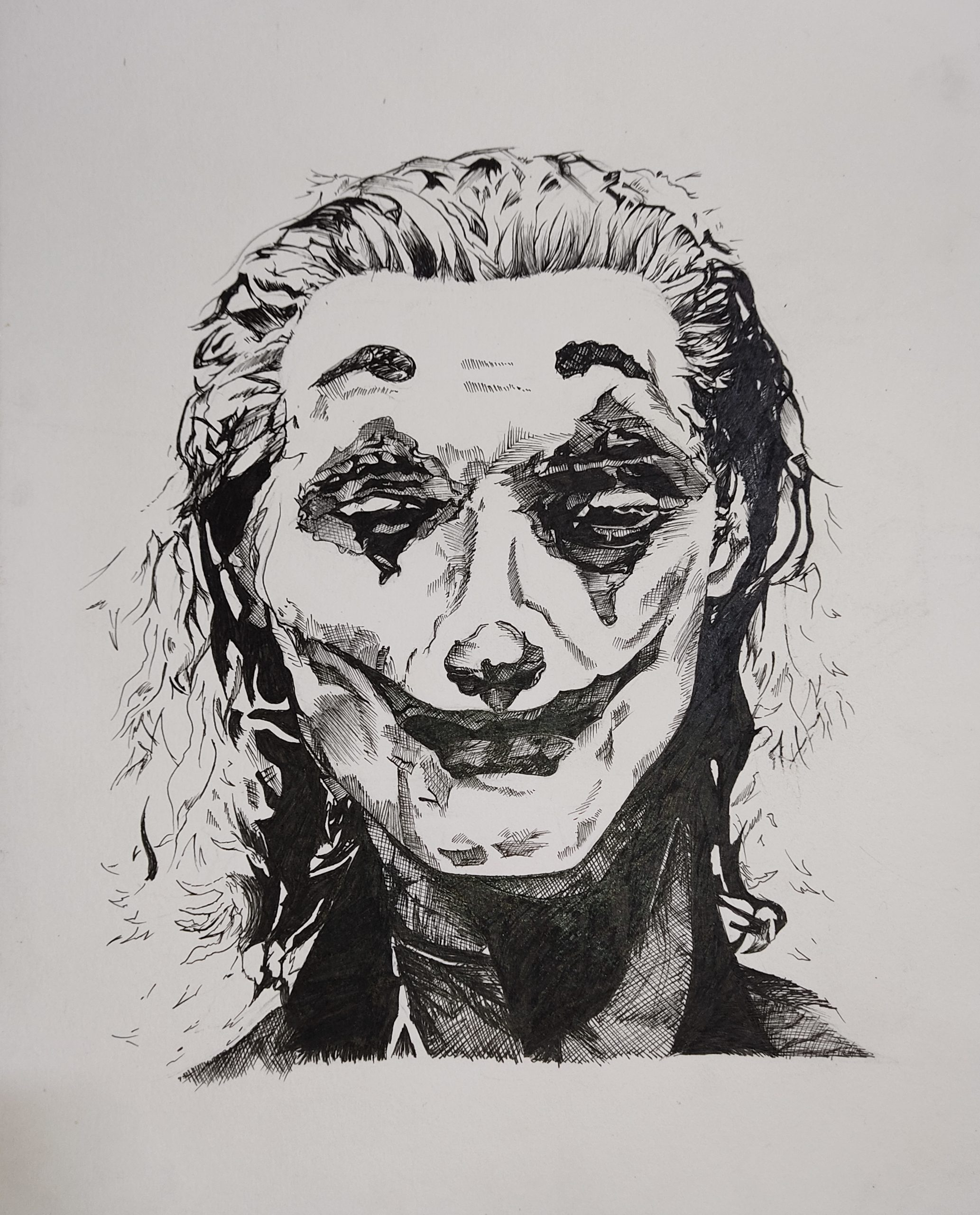 Pencil drawing of movie character joker
