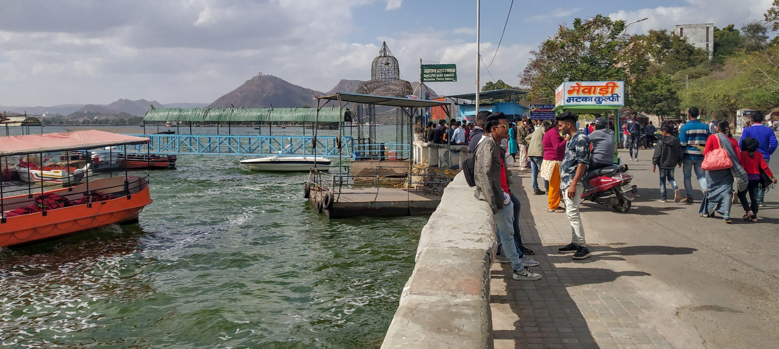 People at a lake