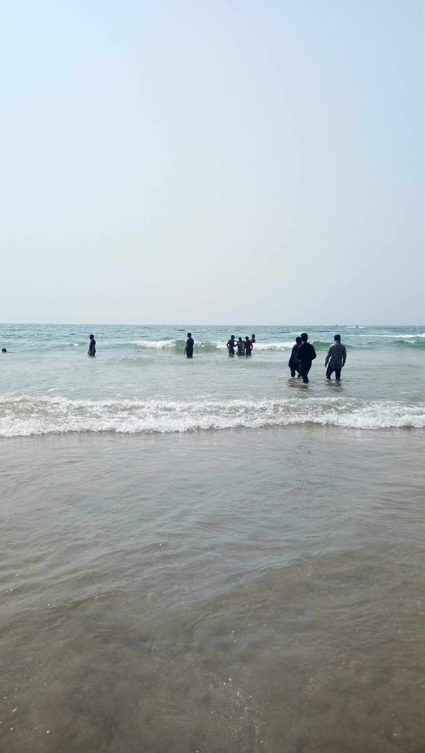 People enjoying water waves on beach