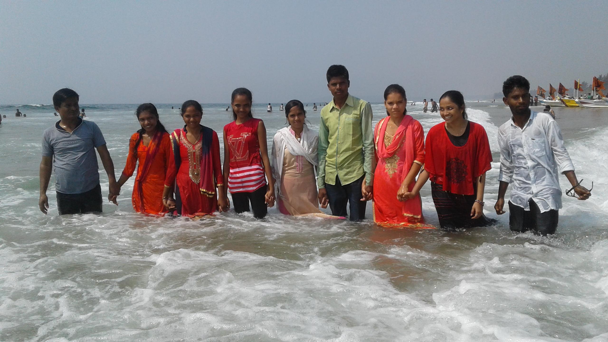 People in sea water