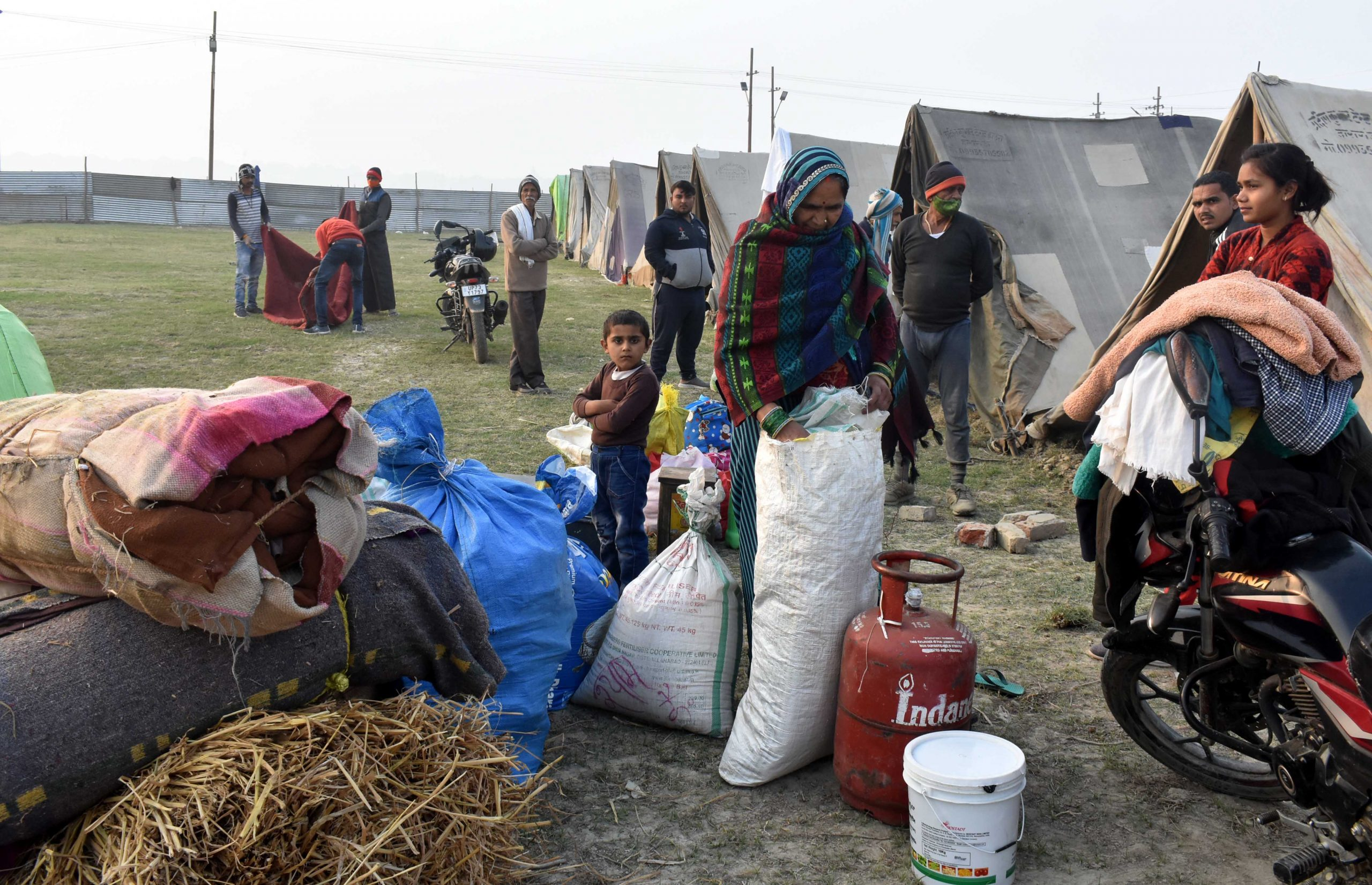 People near tents