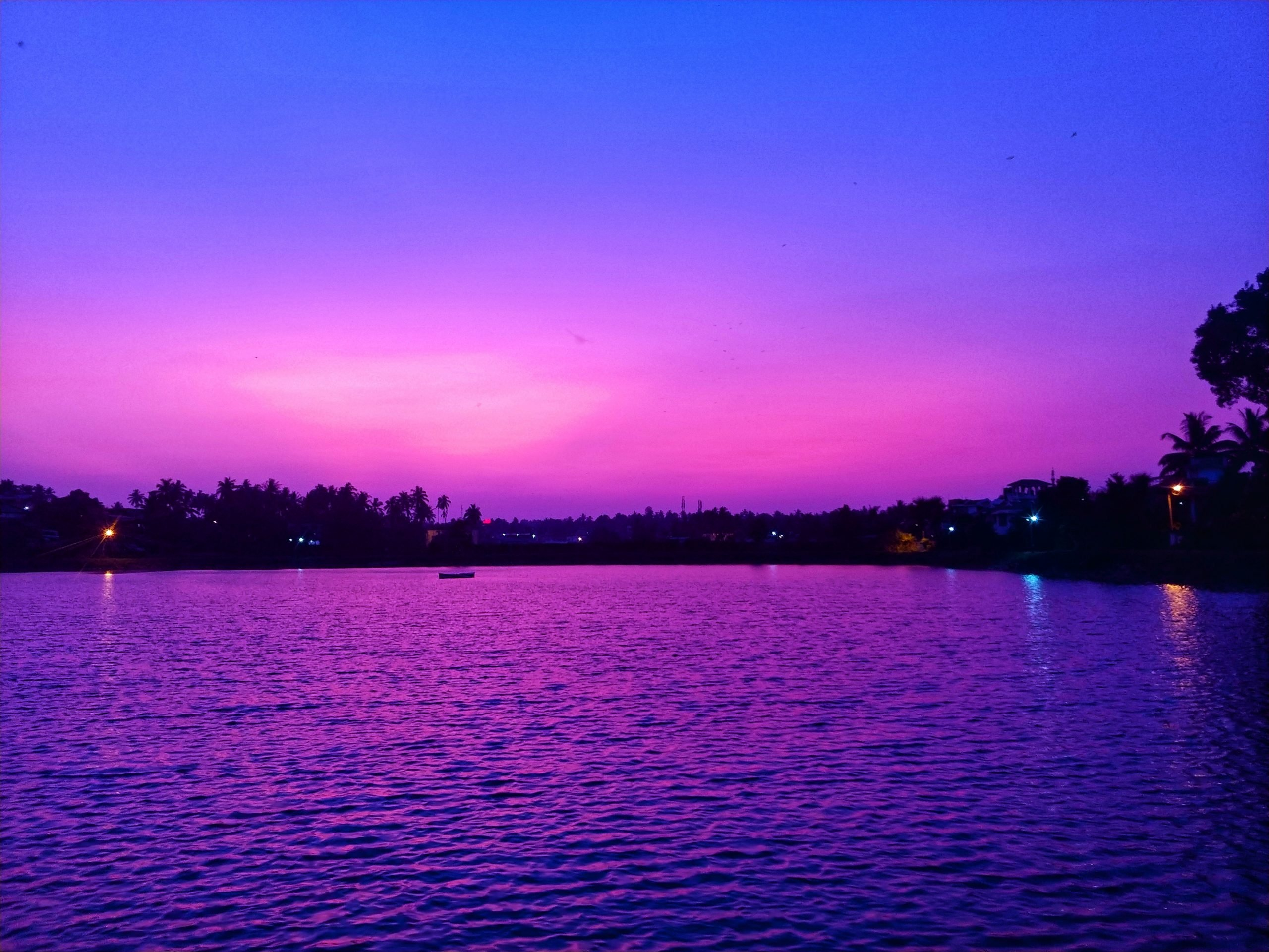 Pink sky and water