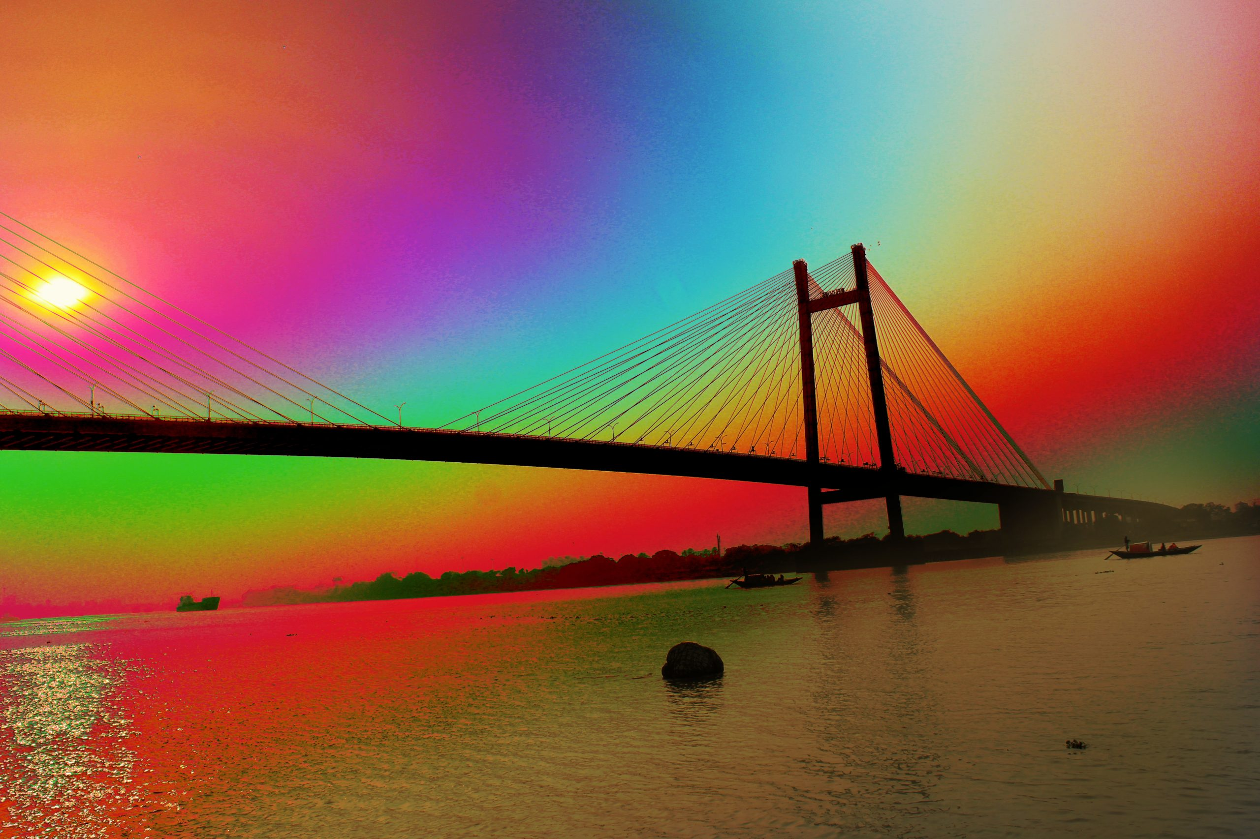 Rainbow lighting on Howrah bridge