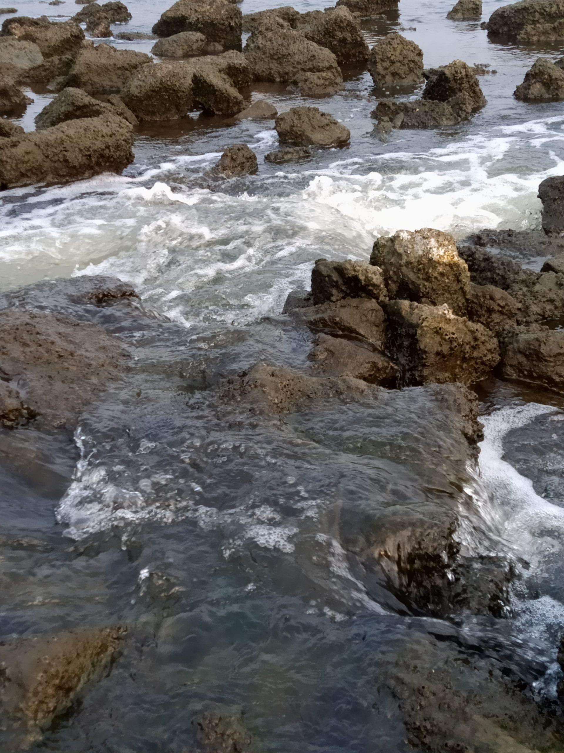 River water splashing through rocks
