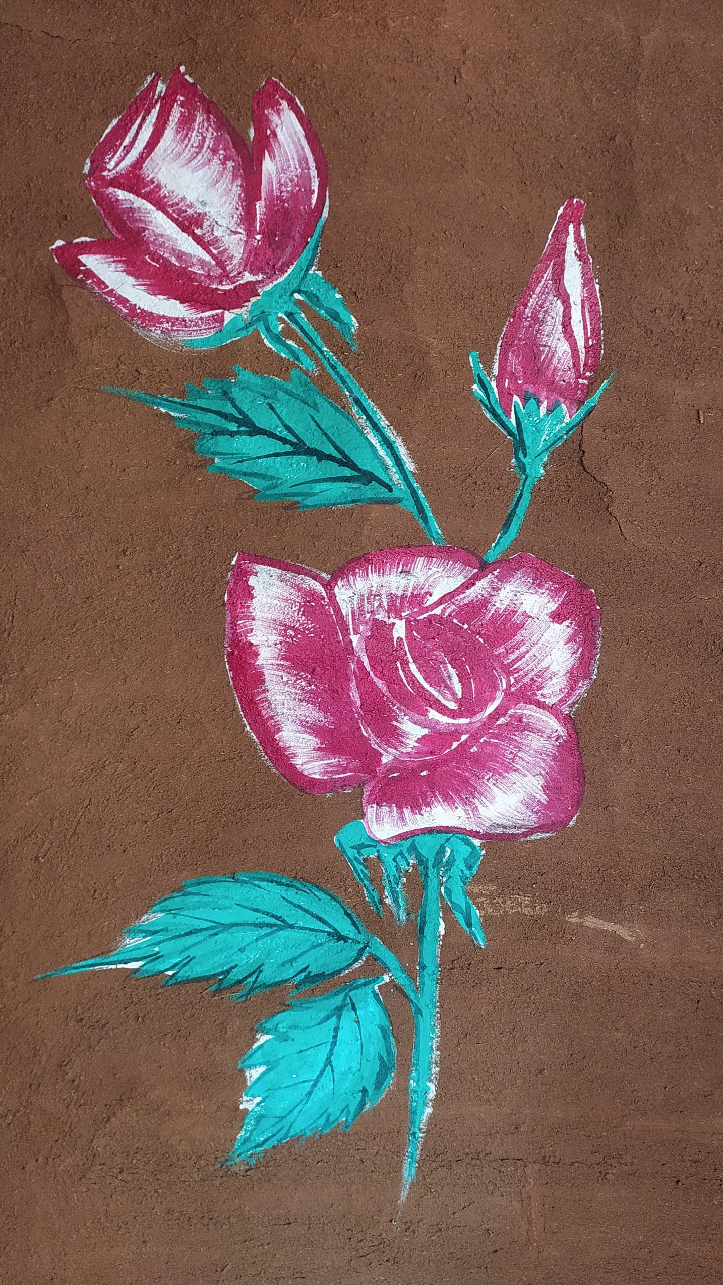 Rose painting on wall
