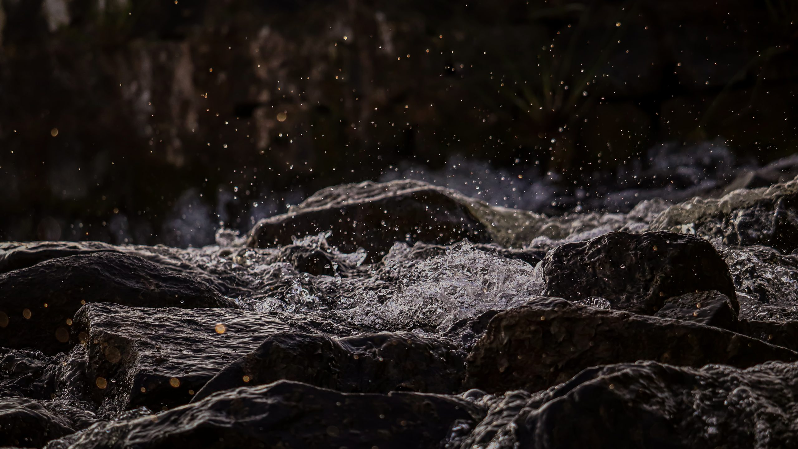 Stream of river on the rocks