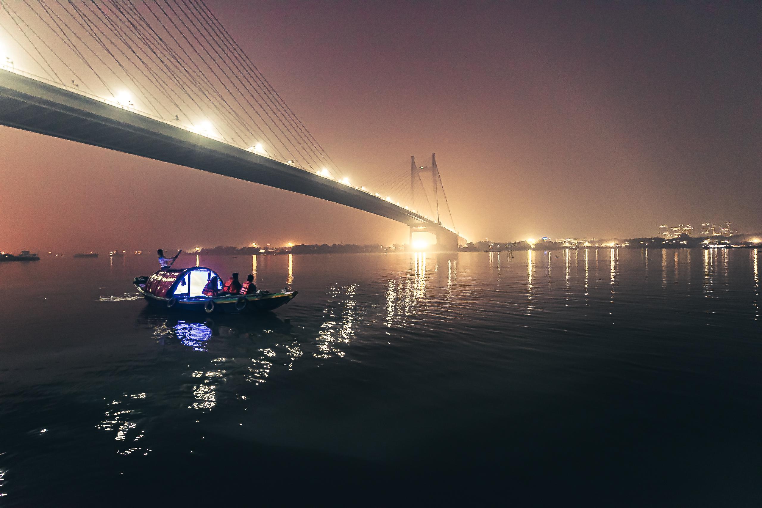 Howrah bridge at night time