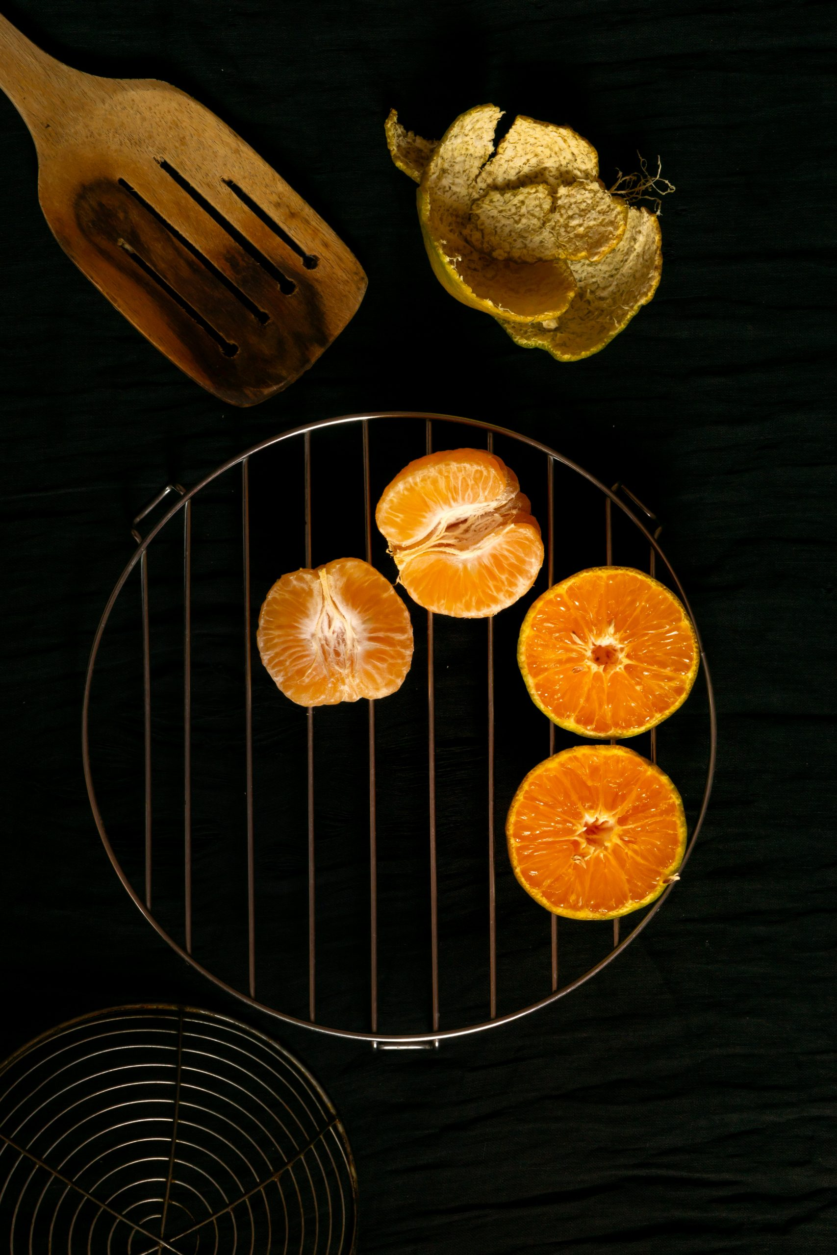 Peeled orange on table