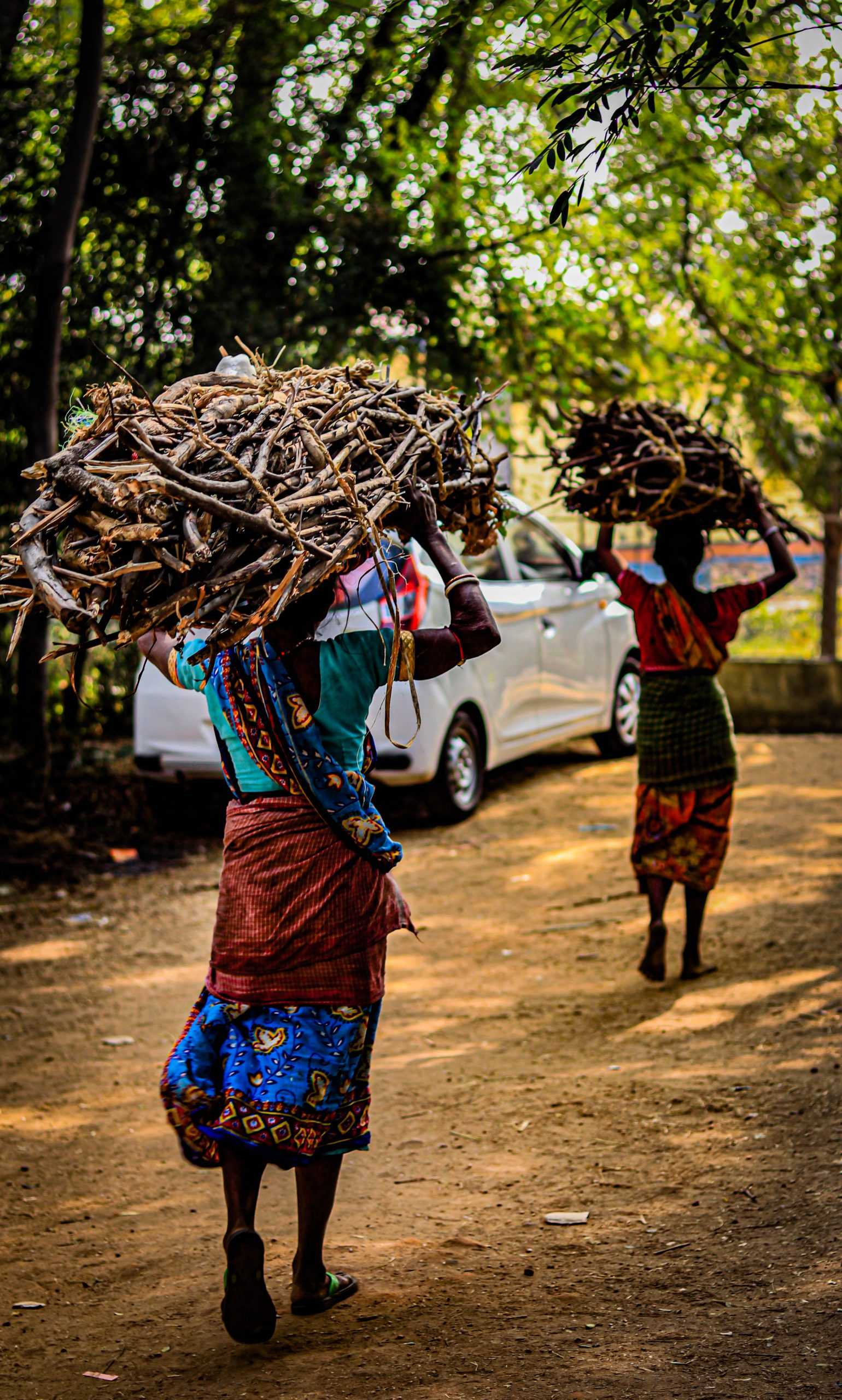 A village woman carrying fire woods