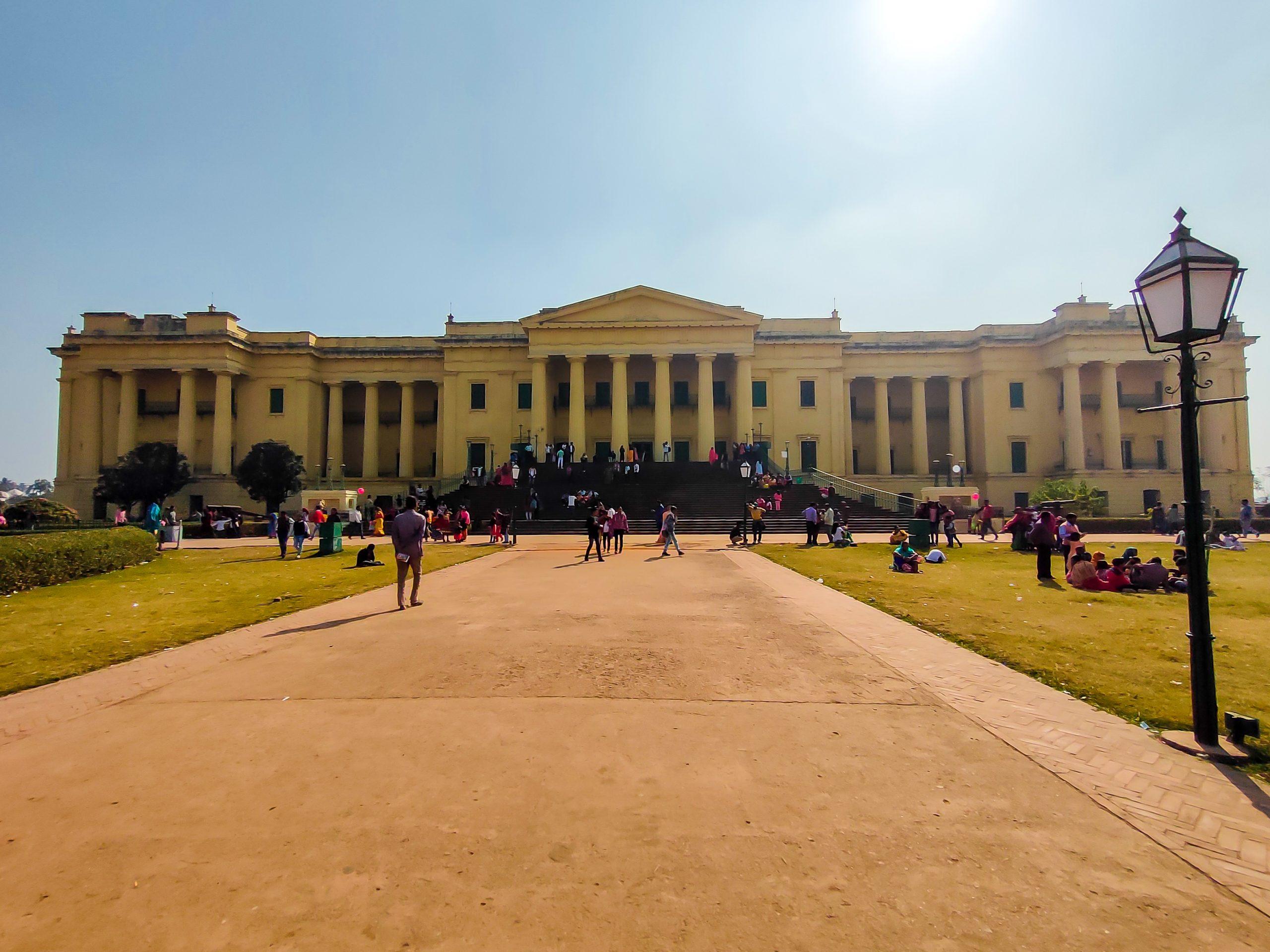 Visitors at a historic building