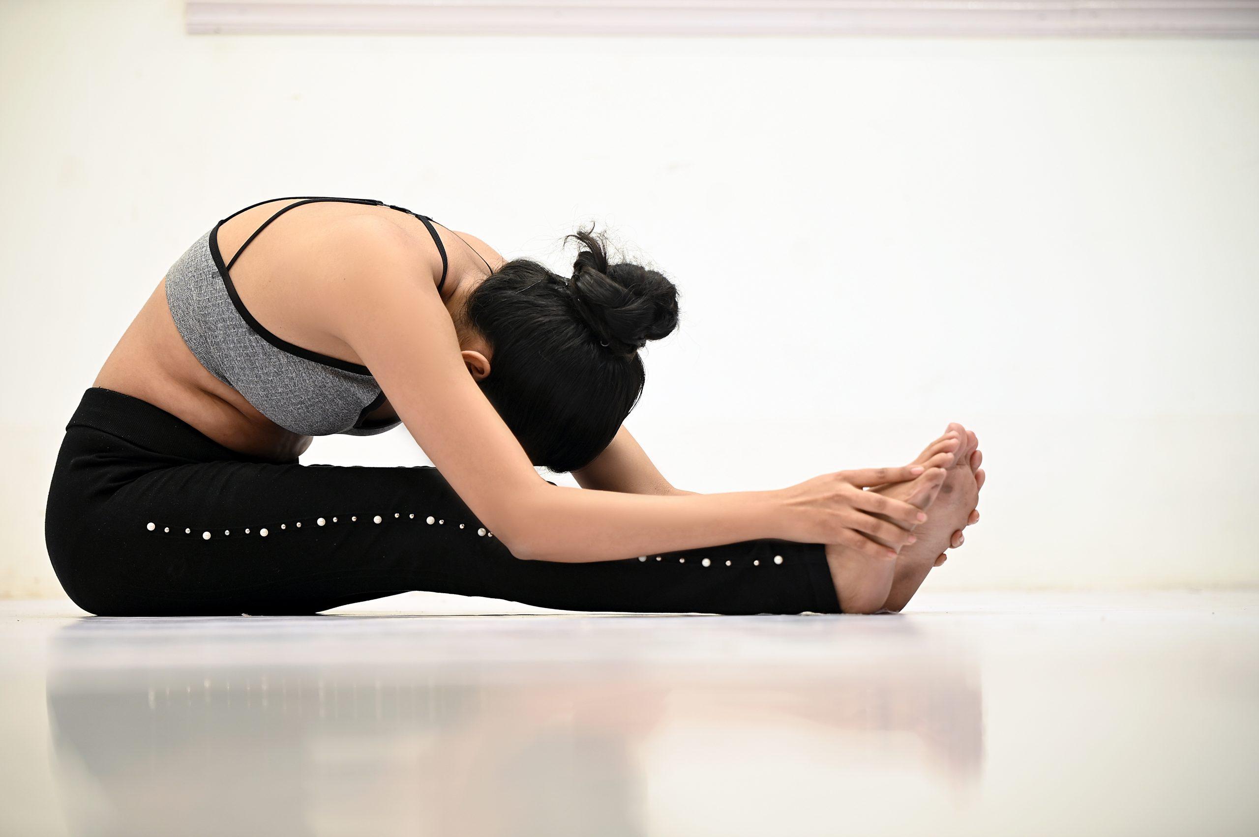 Girl stretching her body