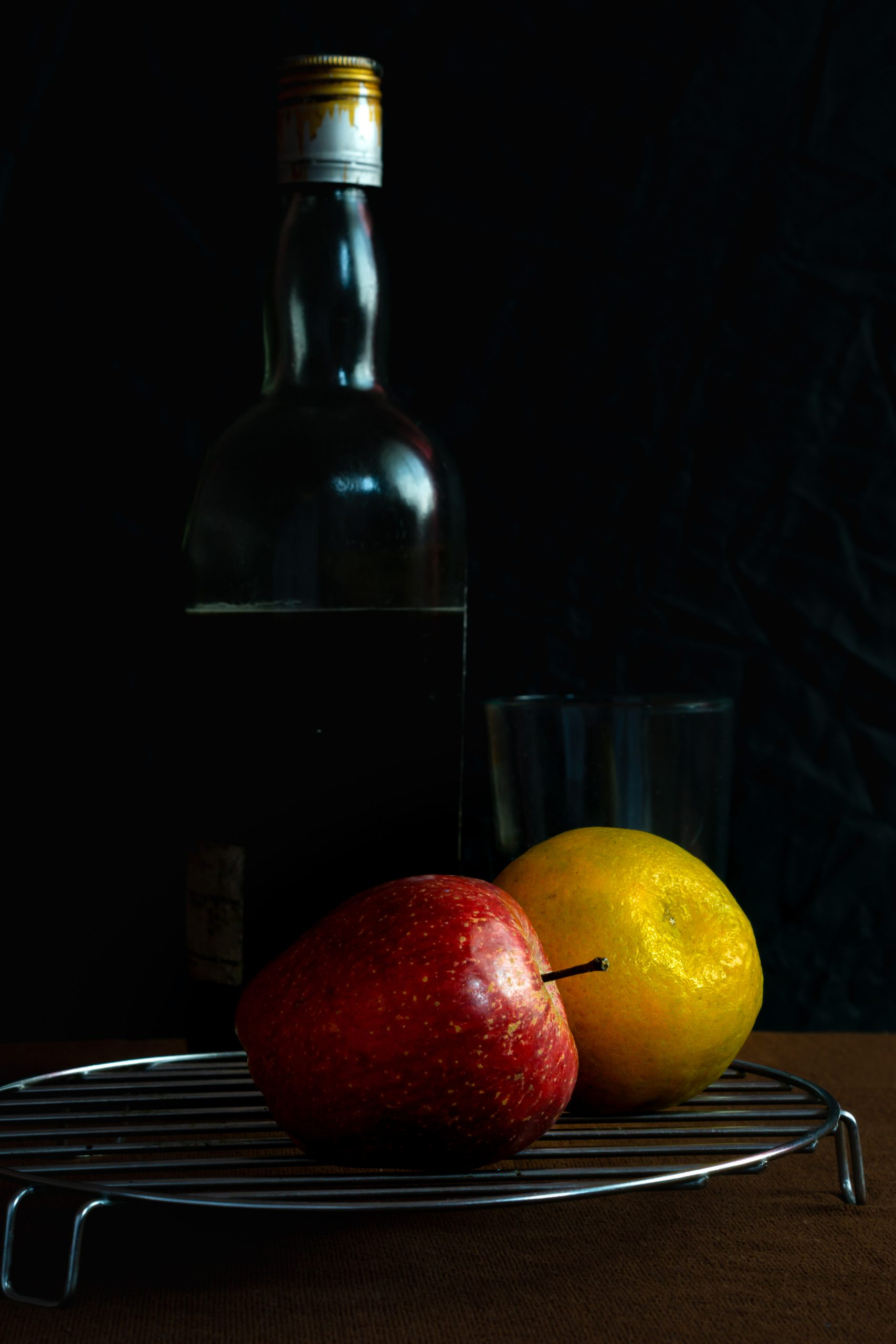 fruits and bottle