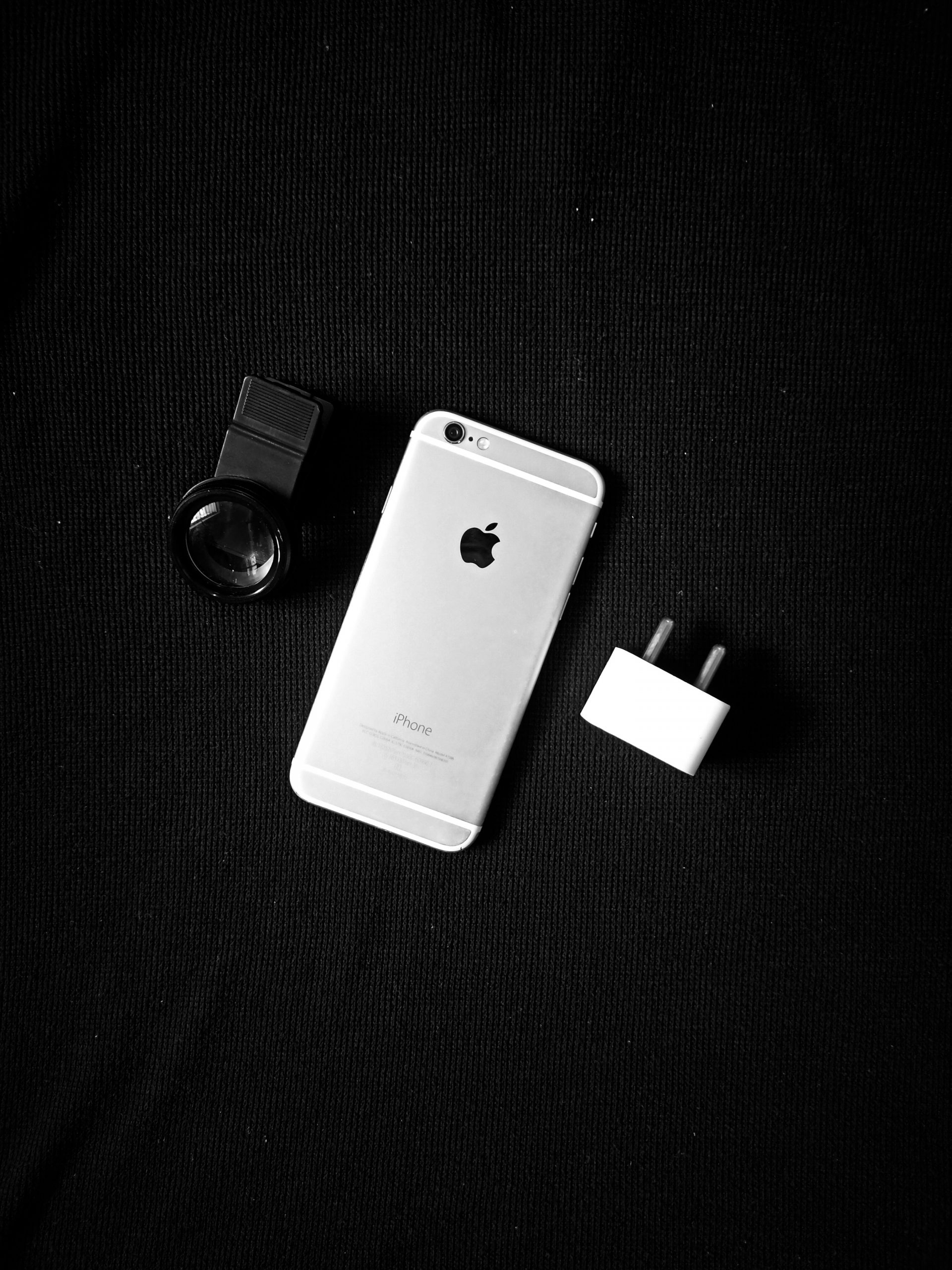 Black and white portrait of iphone