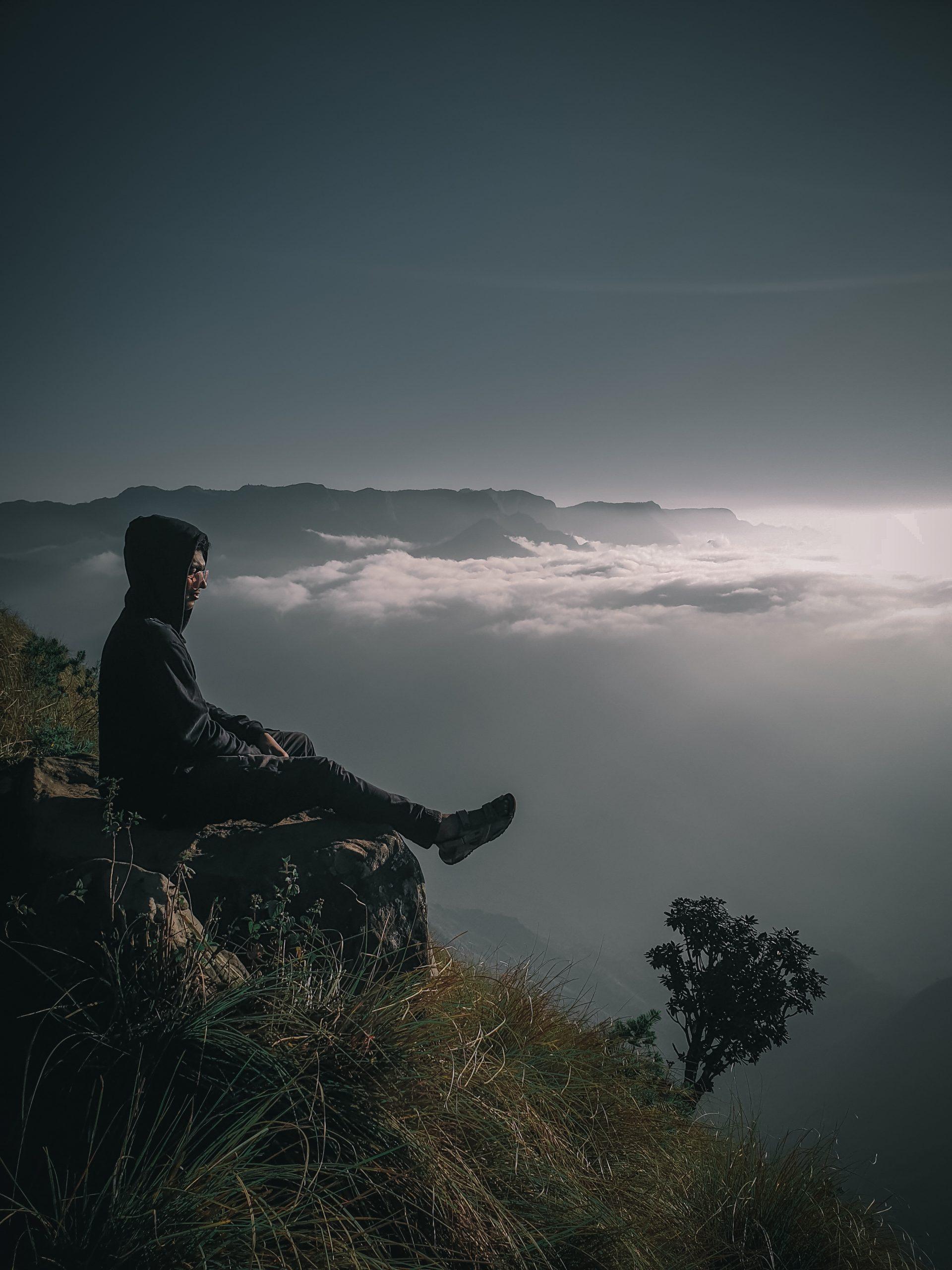 A boy on a cliff
