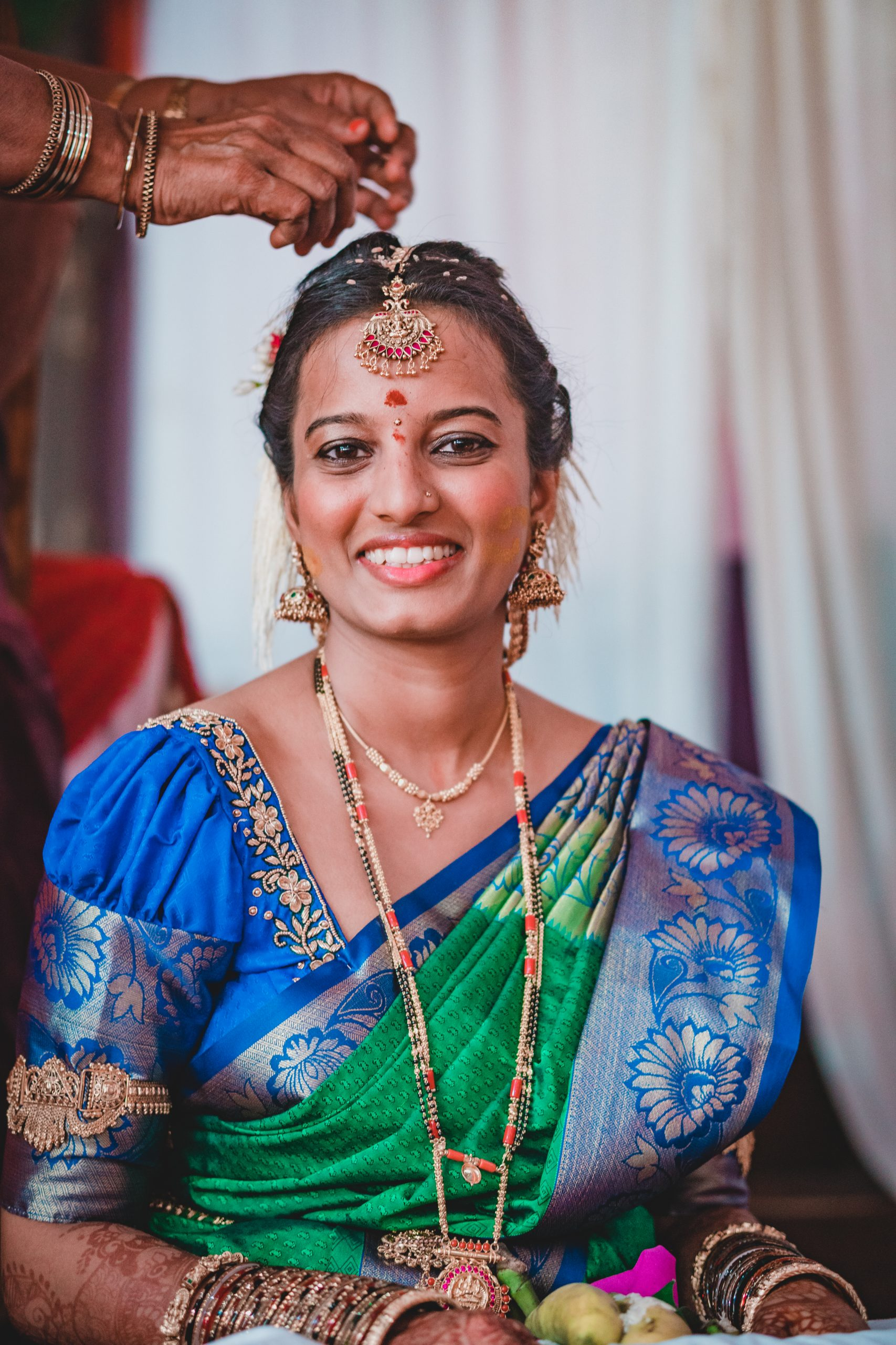 Women smiling on her wedding day