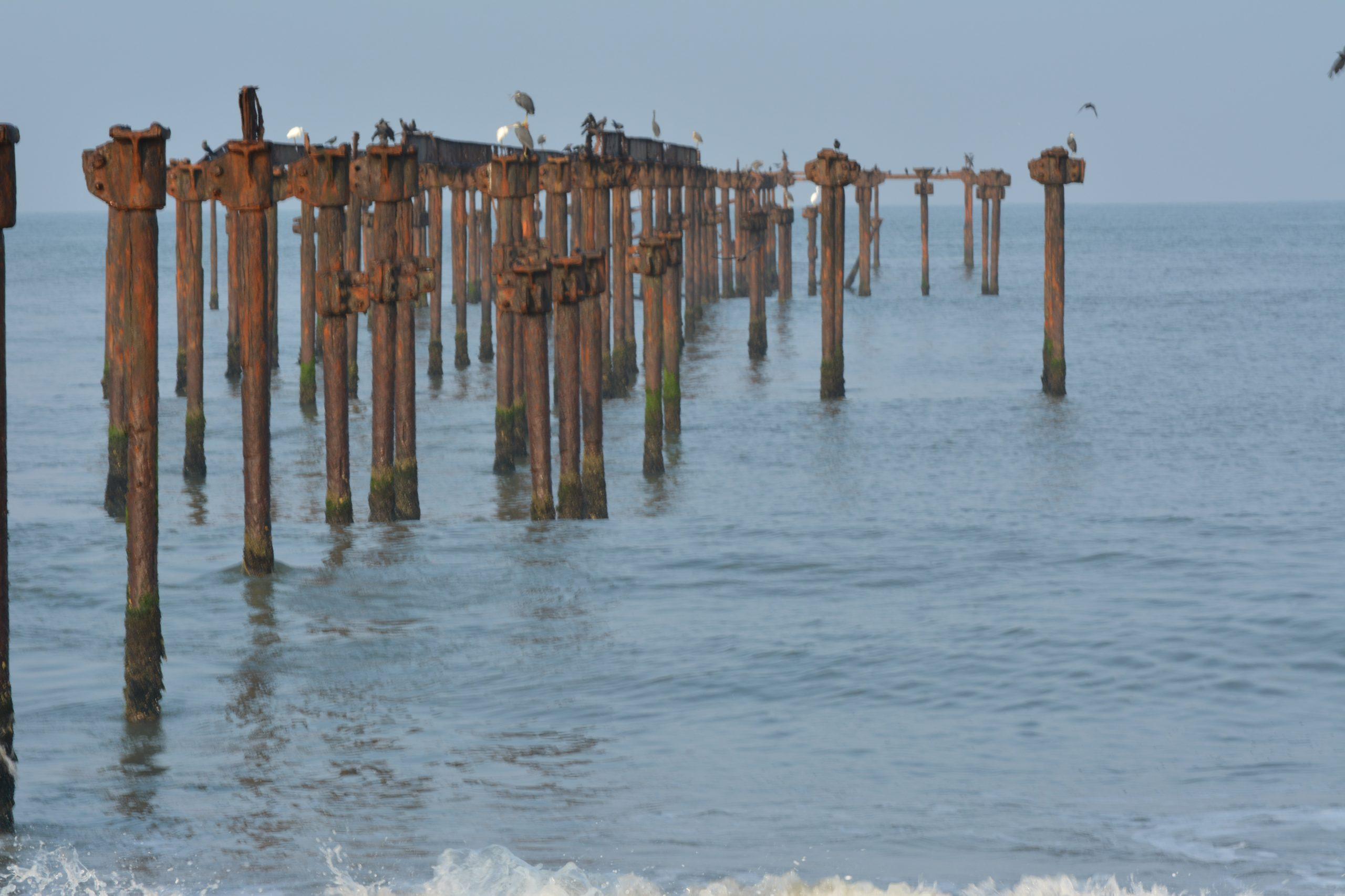 Poles in sea water
