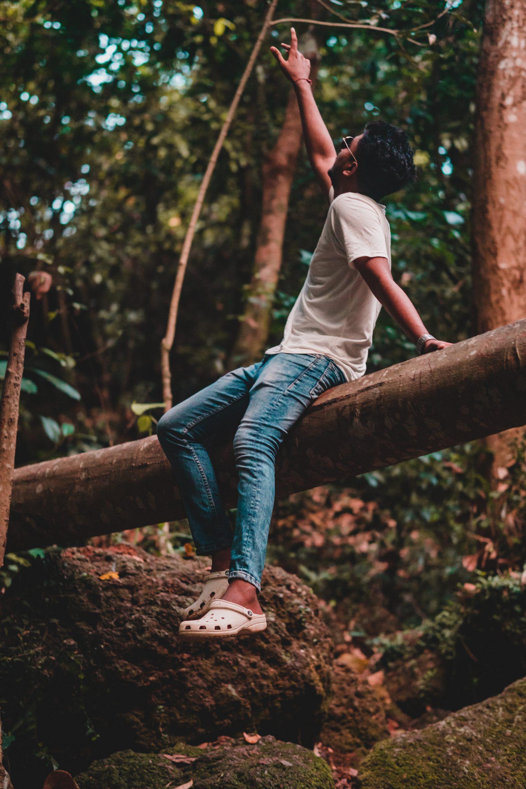 Boy posing on tree