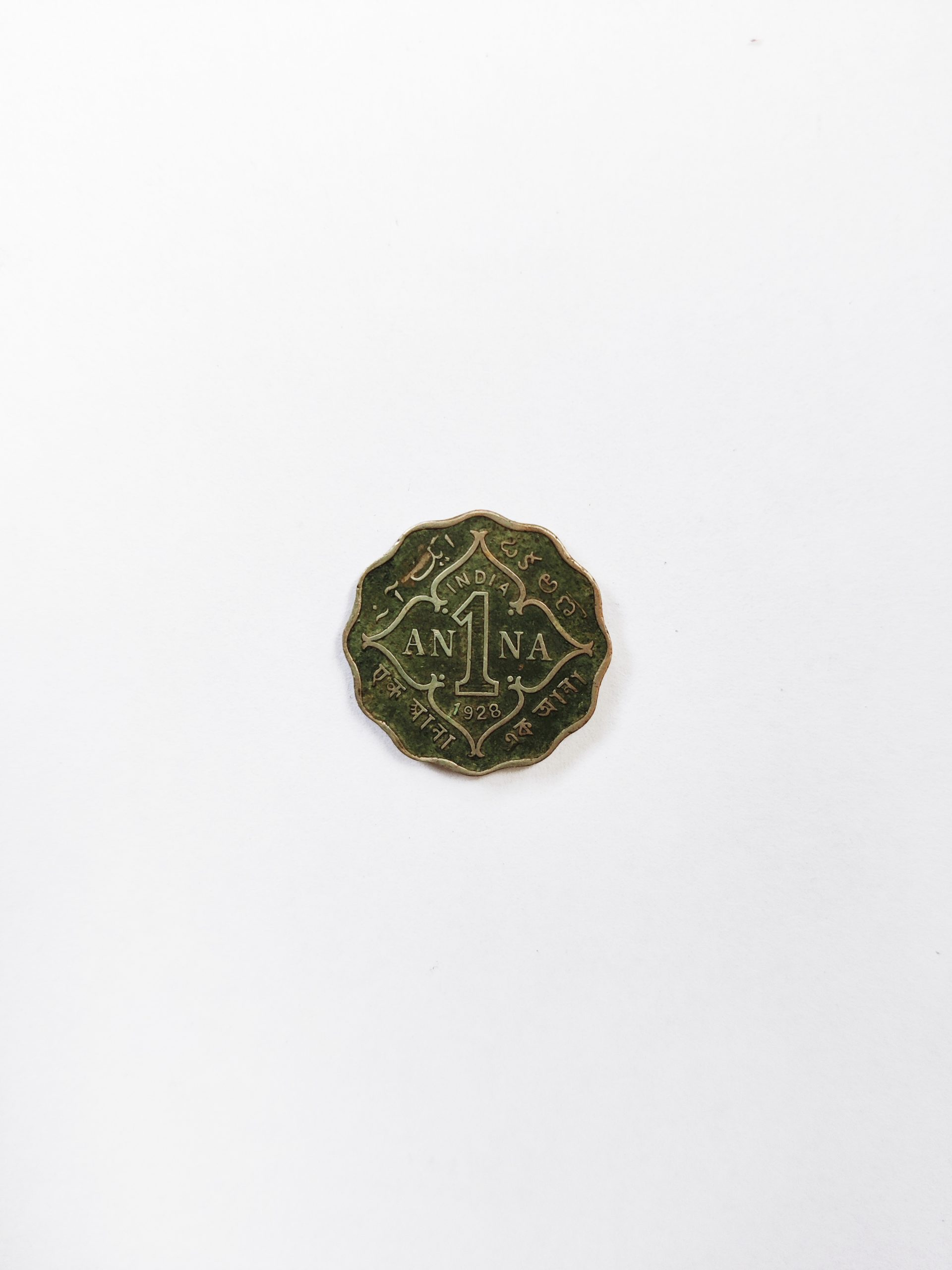 1 Anna coin old India currency