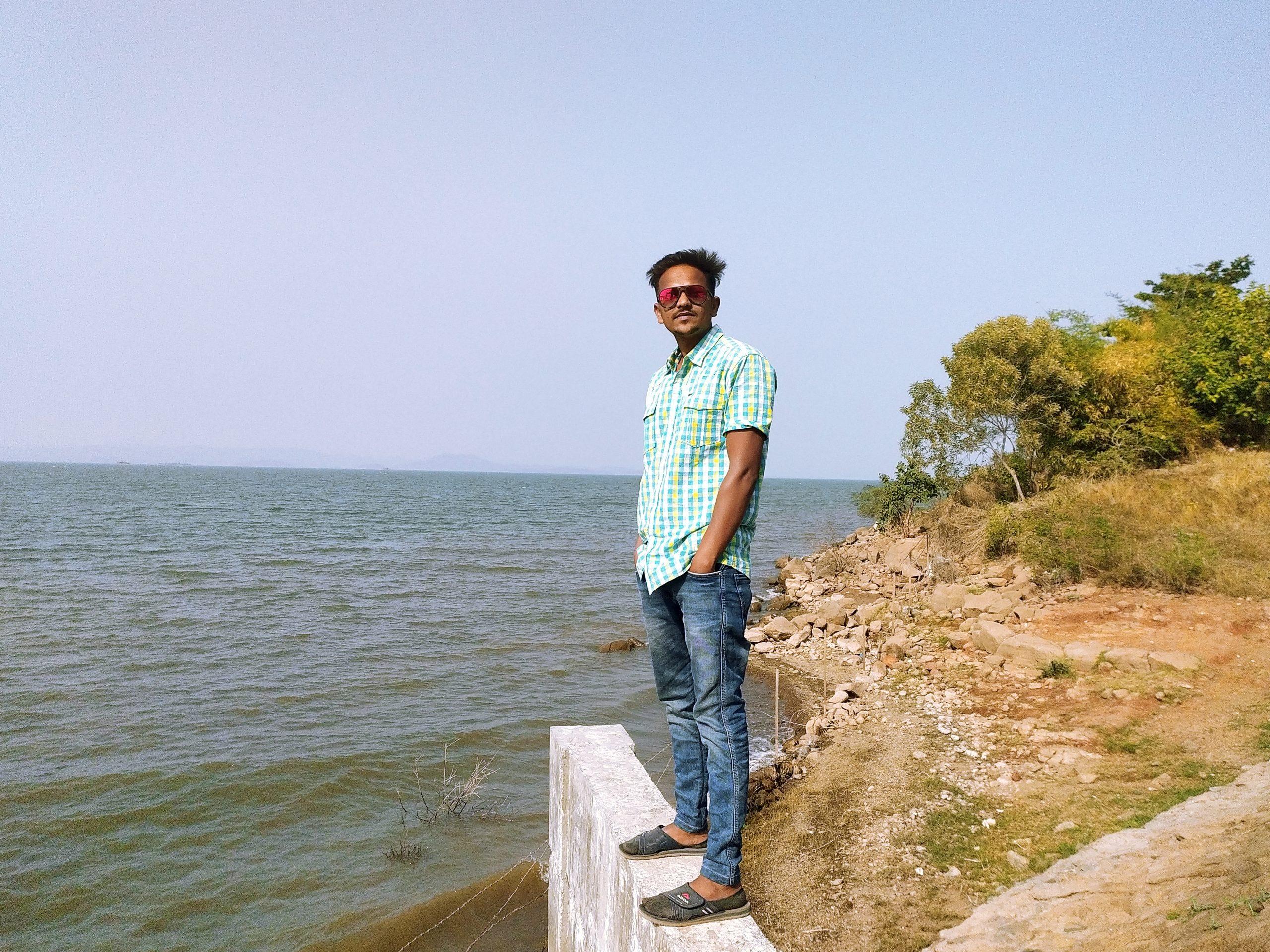A boy at a seashore