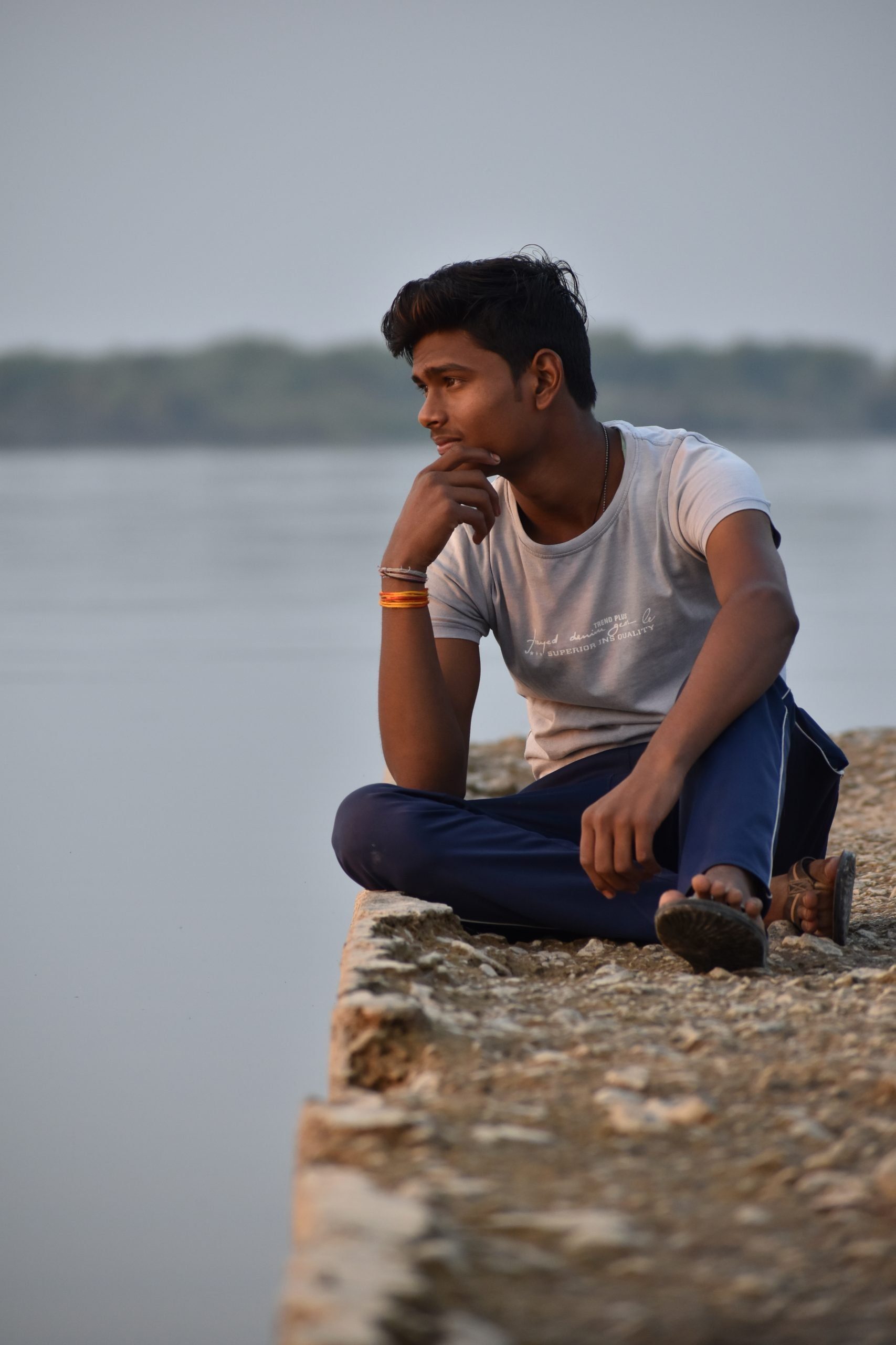A boy in a thought