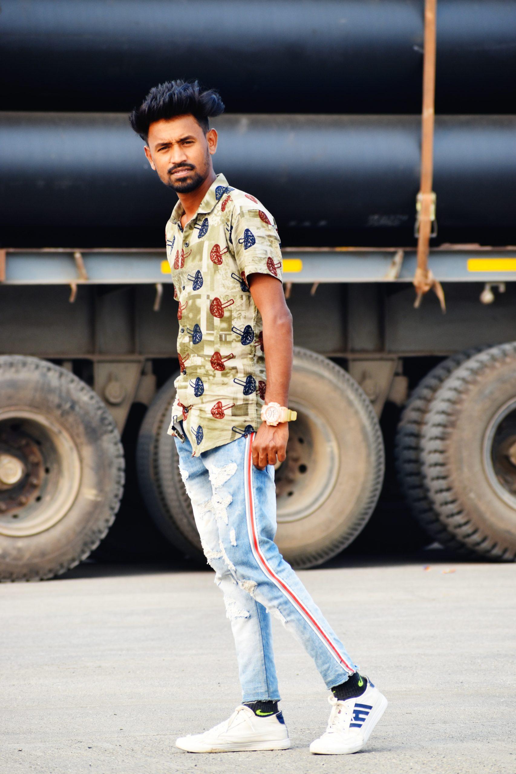 A boy near a truck