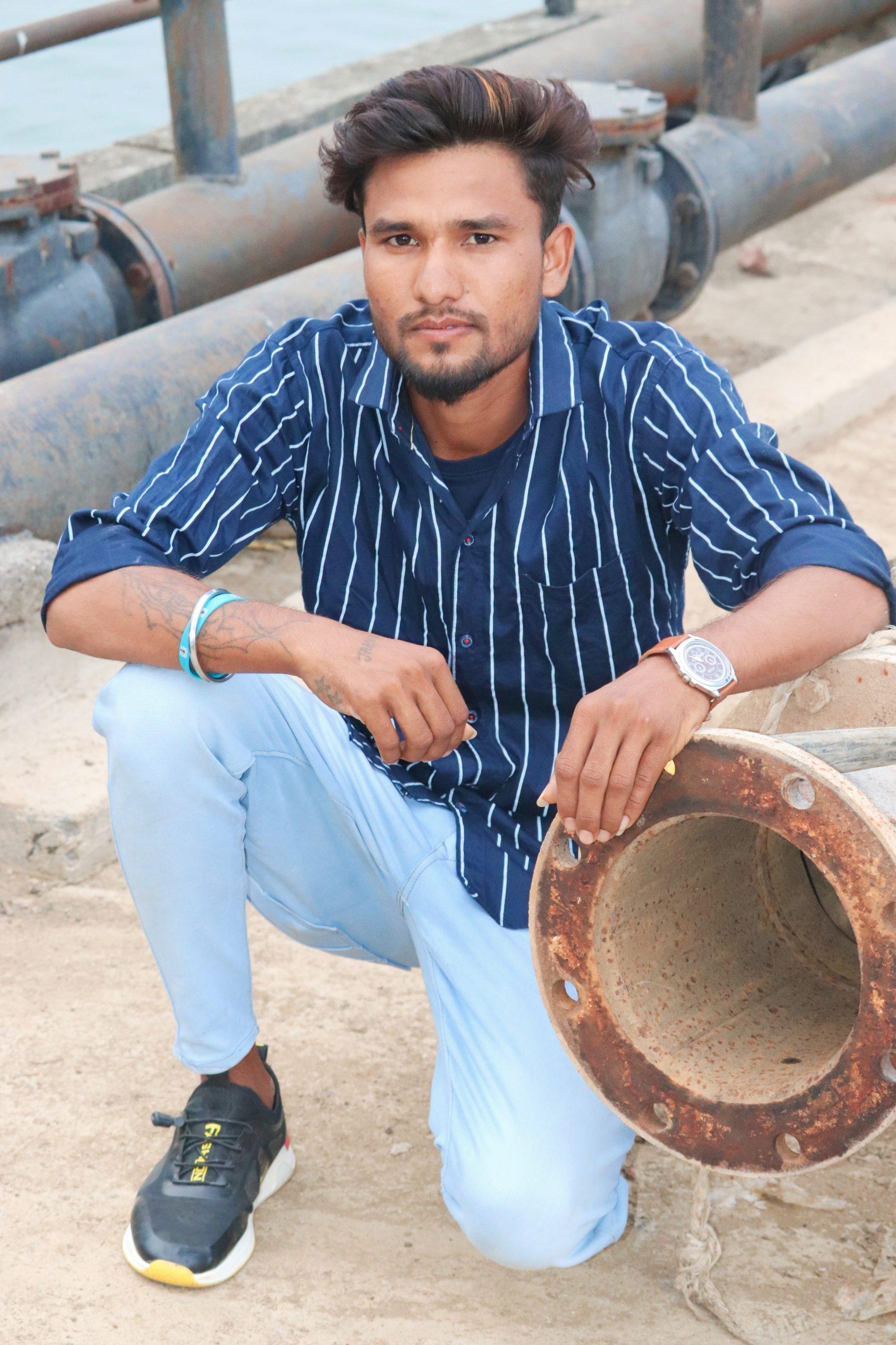 A boy near pipes
