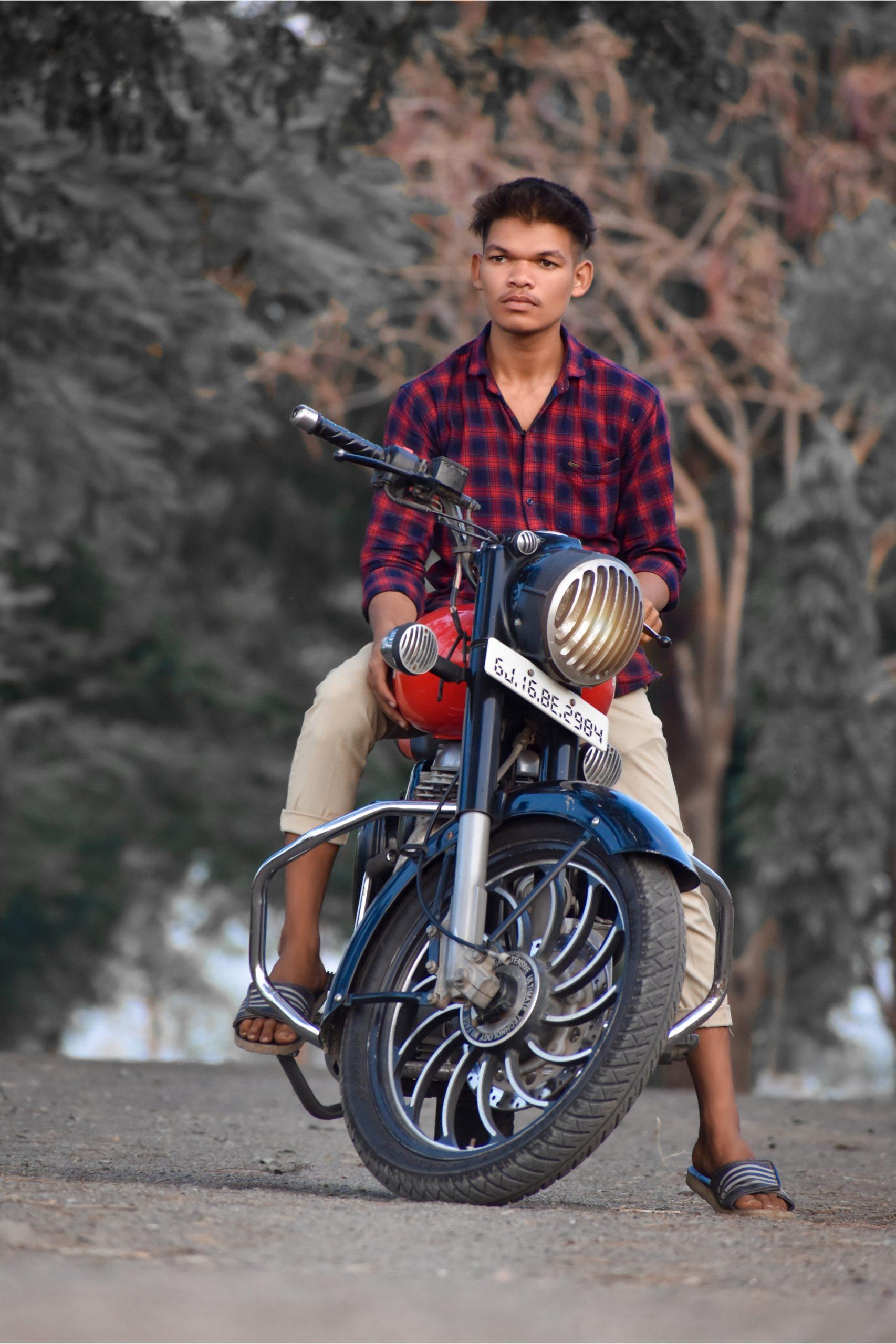 A boy on a bike