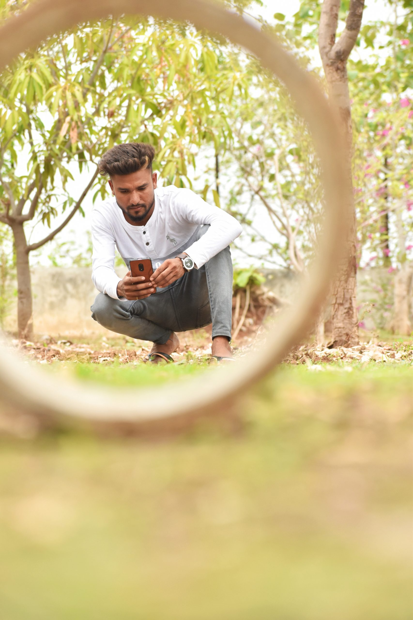 A boy using phone