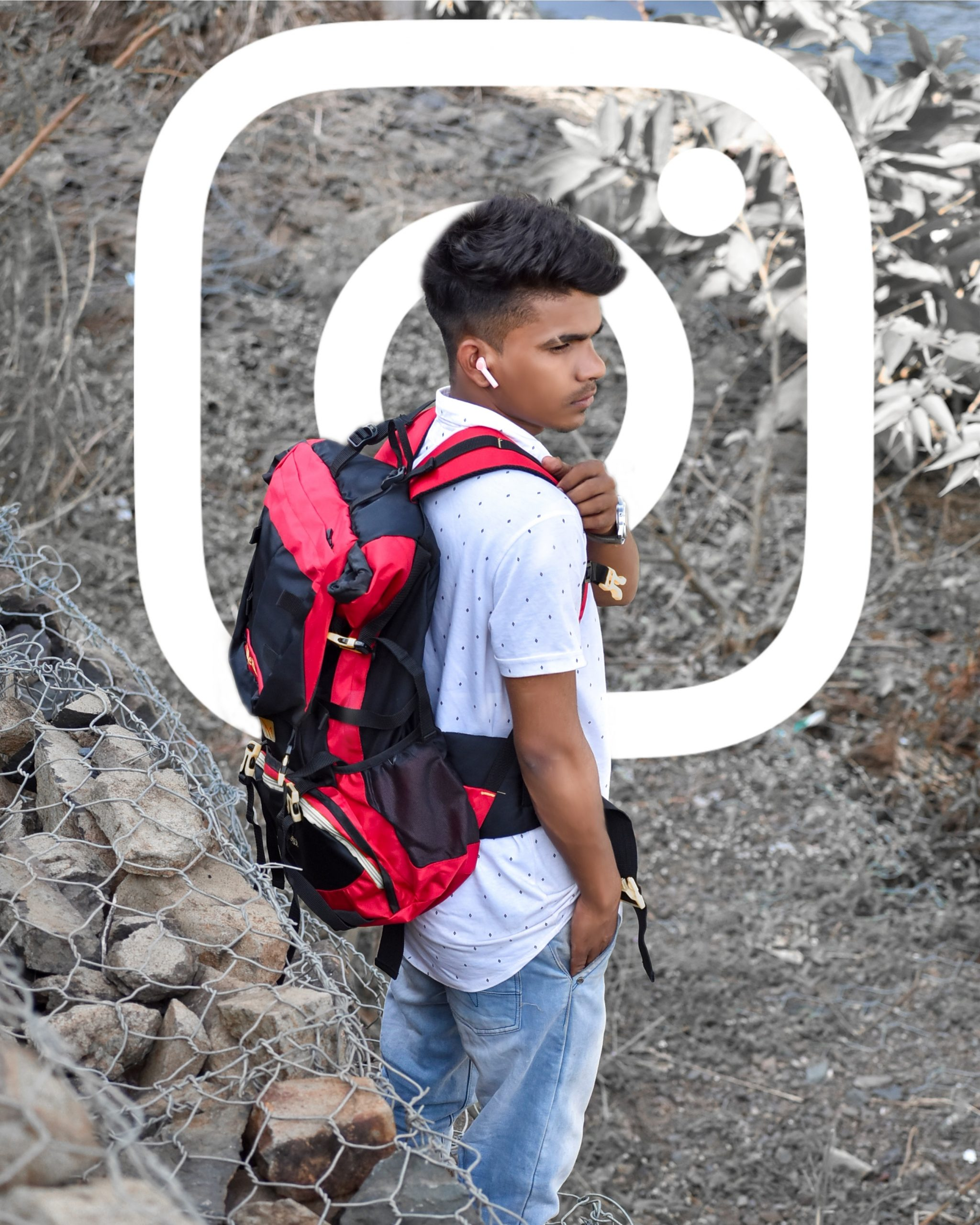 A boy with backpack