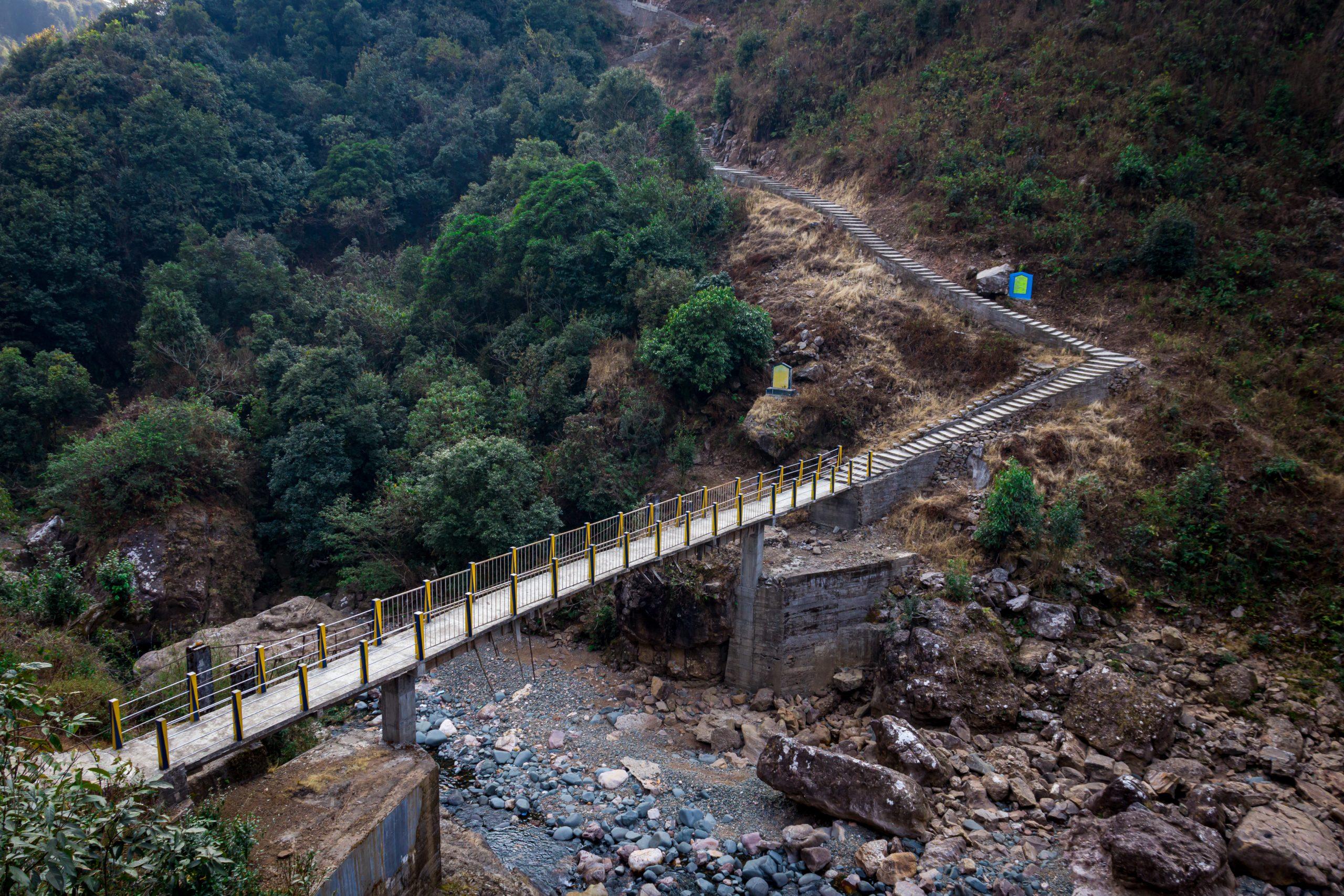 A bridge connecting mountains