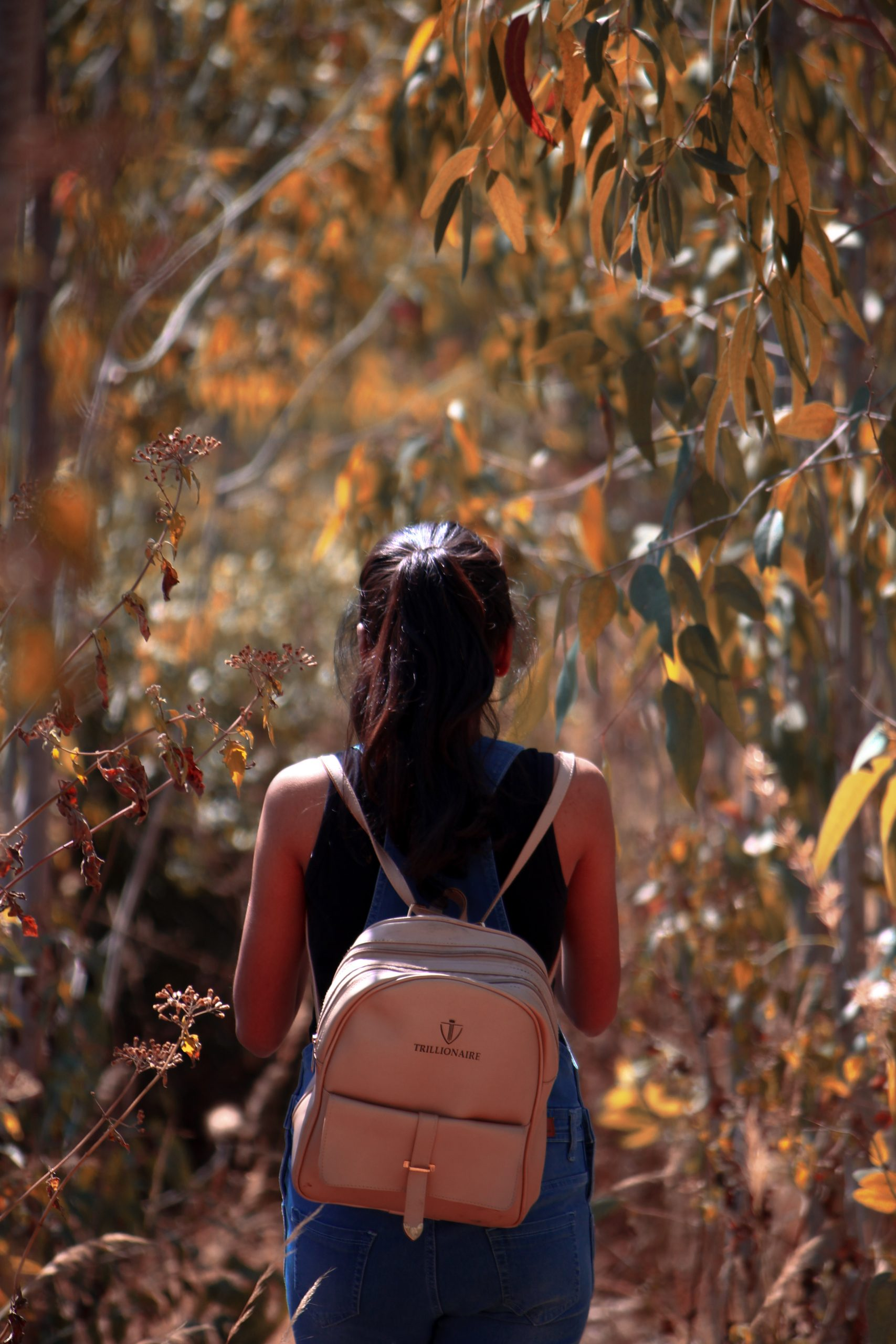 A girl with backpack